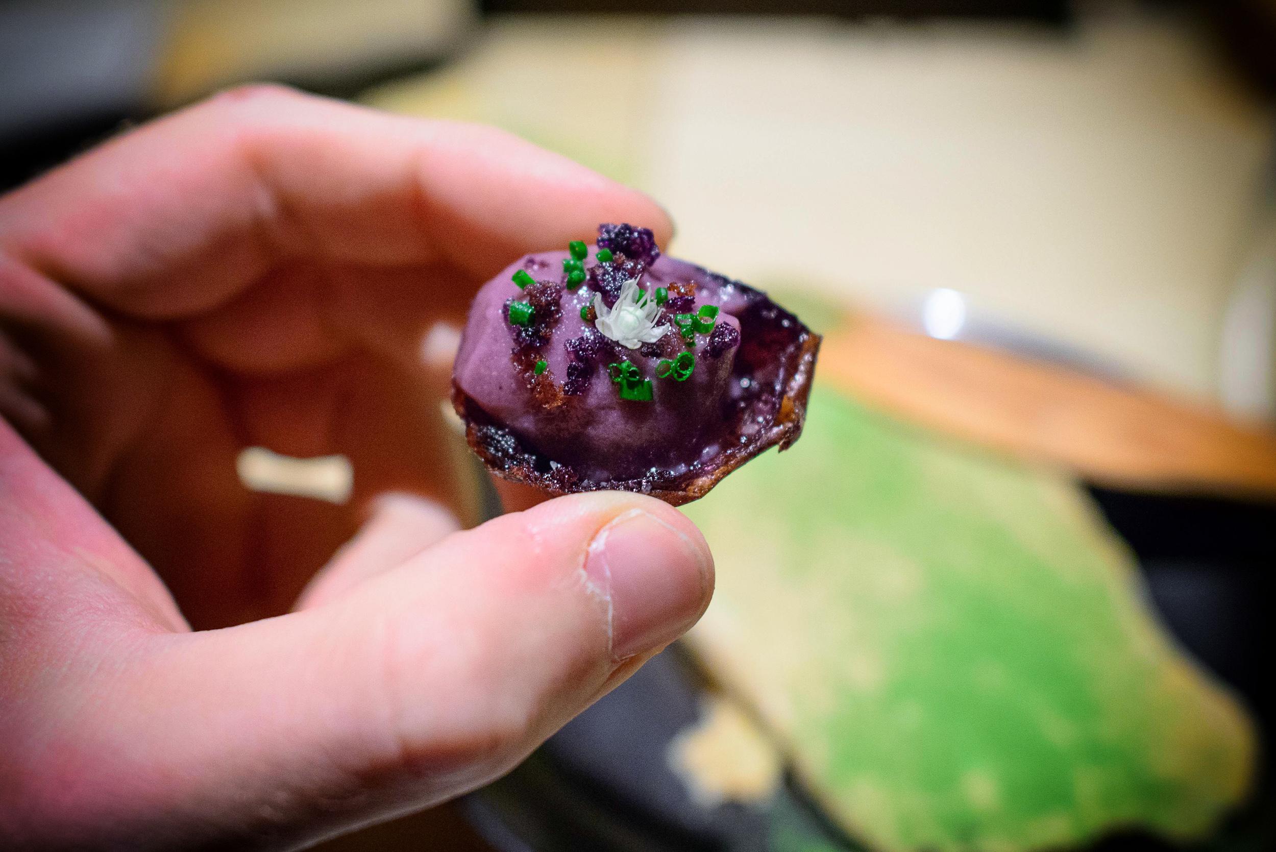 2nd Course: Frozen baked potato (purple potato mouse, chives)