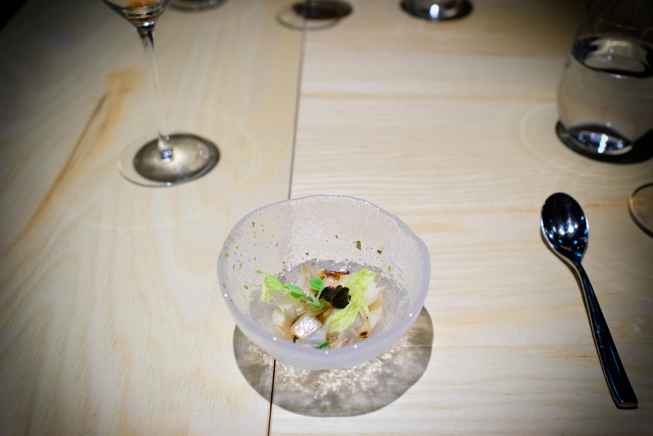 8th Course: Lily Pond (celery leaf and sorrel)