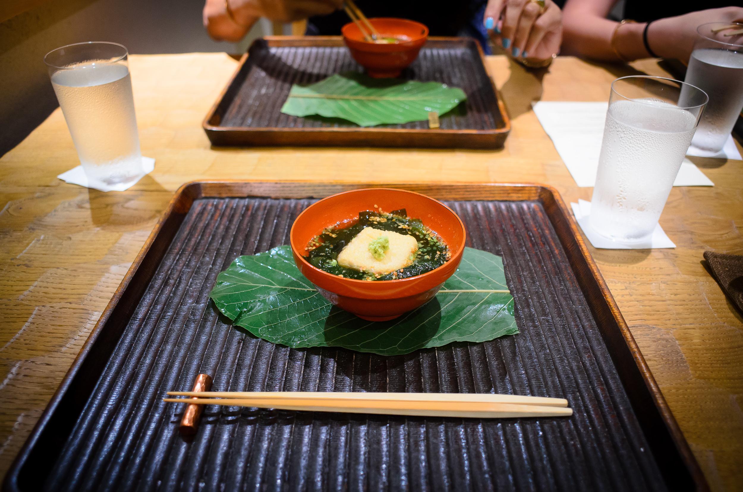 2nd Course: Wakame soup with house-made sesame-tofu, wasabi