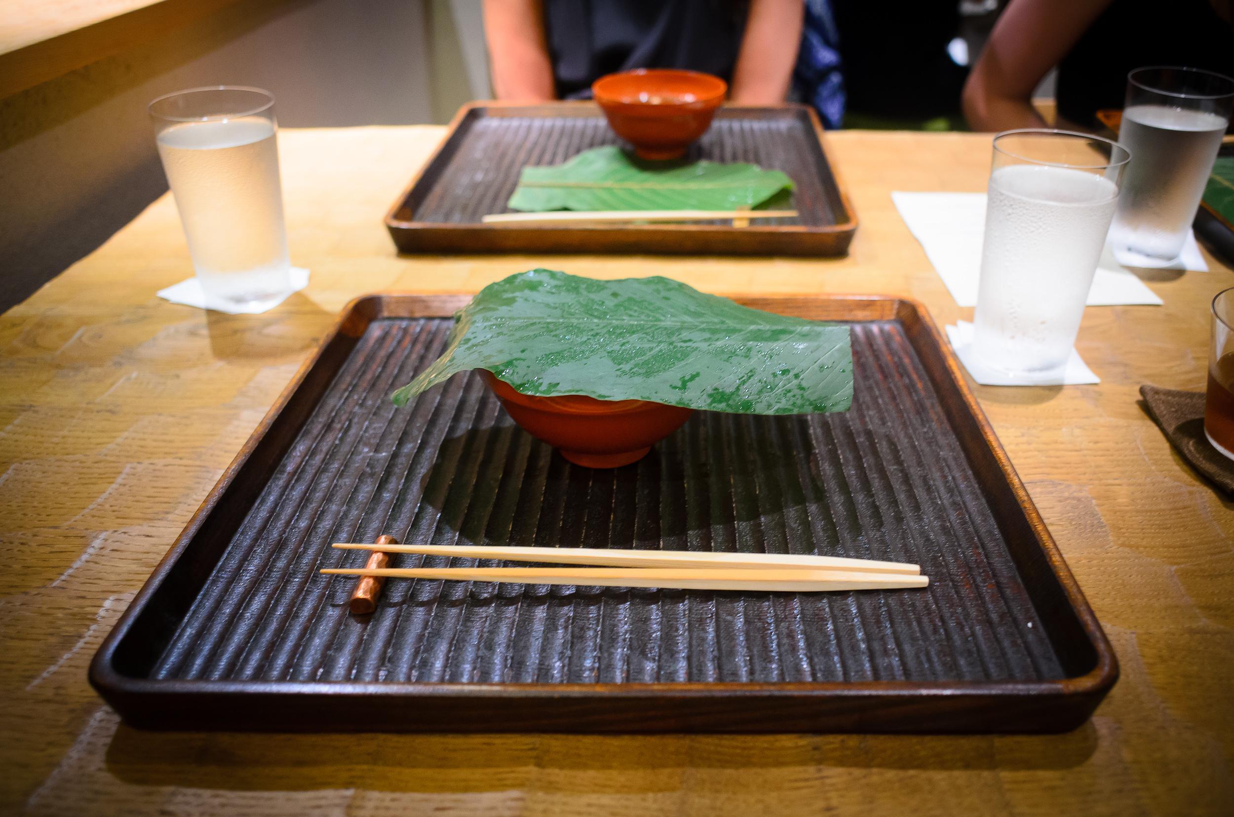 2nd Course: Wakame soup with house-made sesame-tofu, wasabi (cov