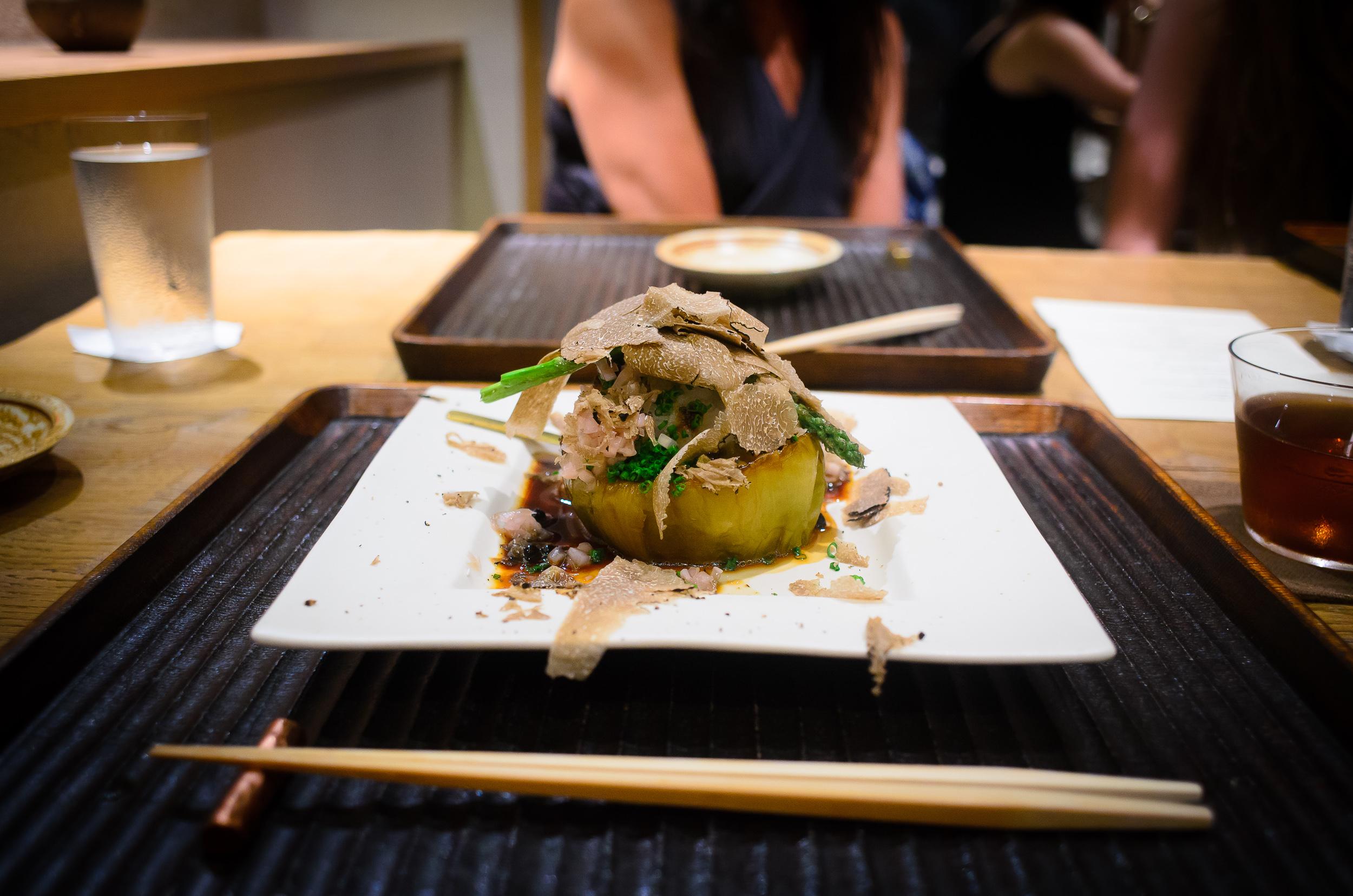 "4th Course: Porcini and morel mushroom ""sukiyaki"" with summer tr"