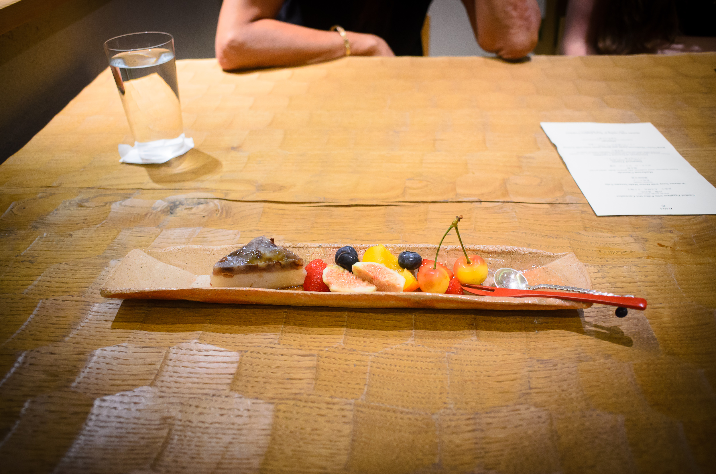 8th Course: Minazuki: azuki-bean, black sugar jelly, green plum