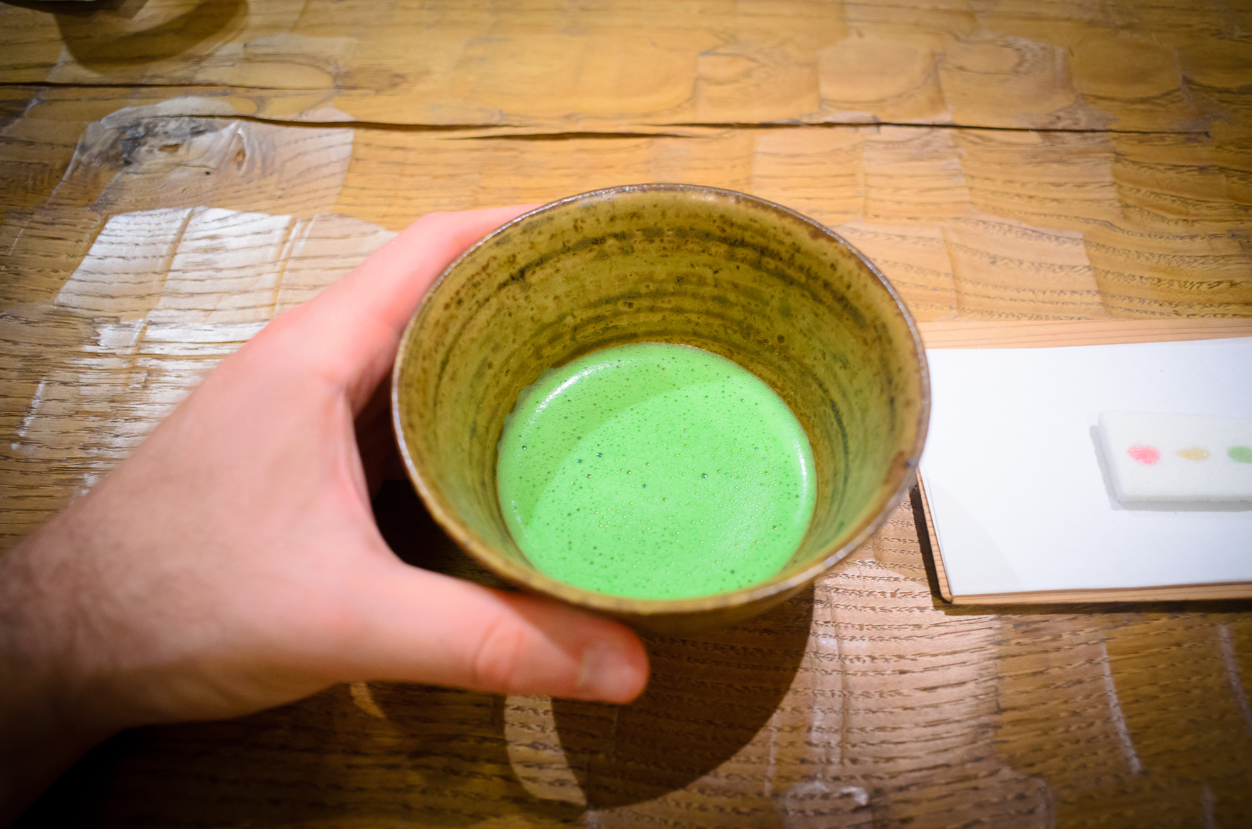 9th Course: Matcha green tea with candies by Kyoto's kagizen-yos
