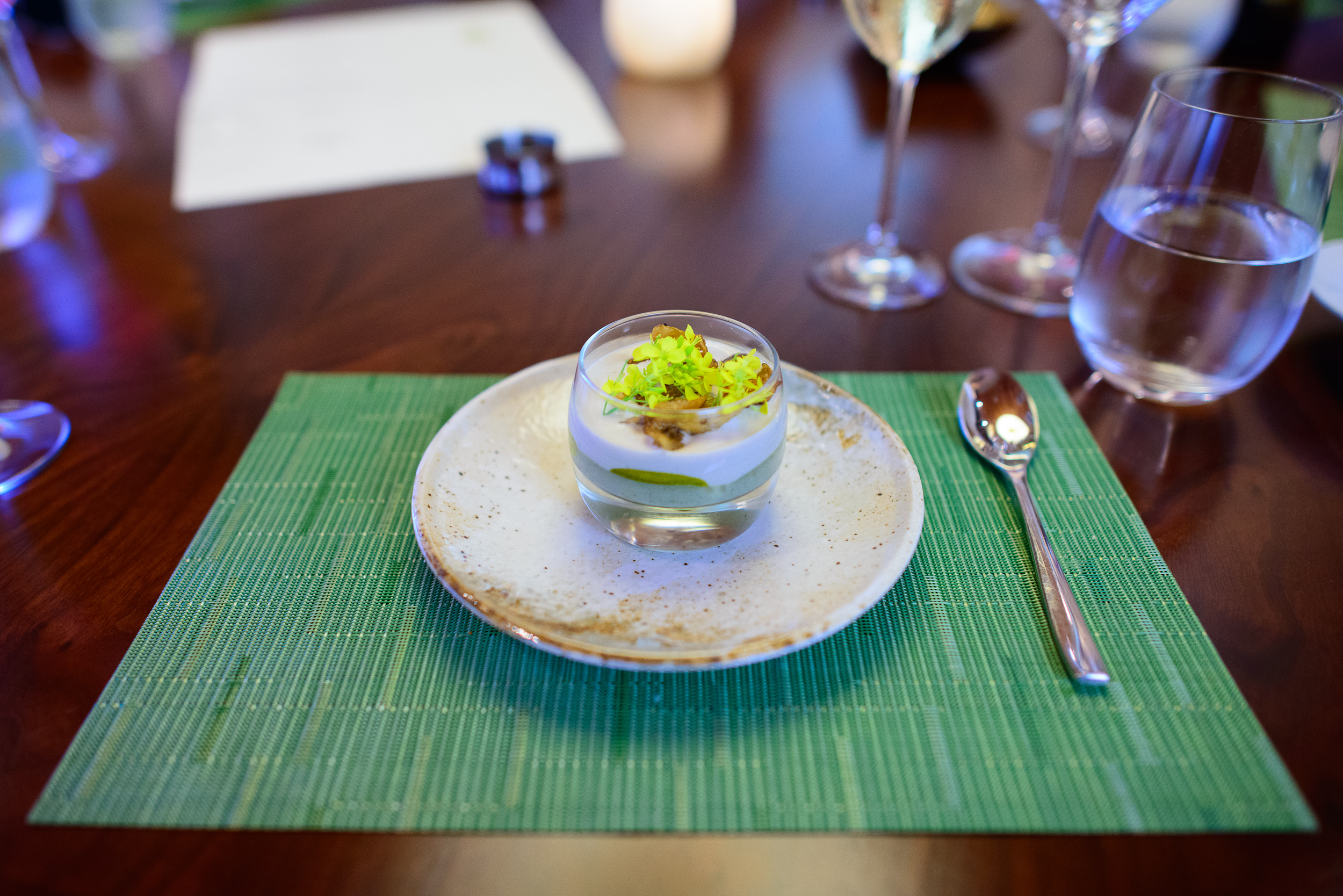 1st Course: Pansey, custard, egg, yogurt (elements)