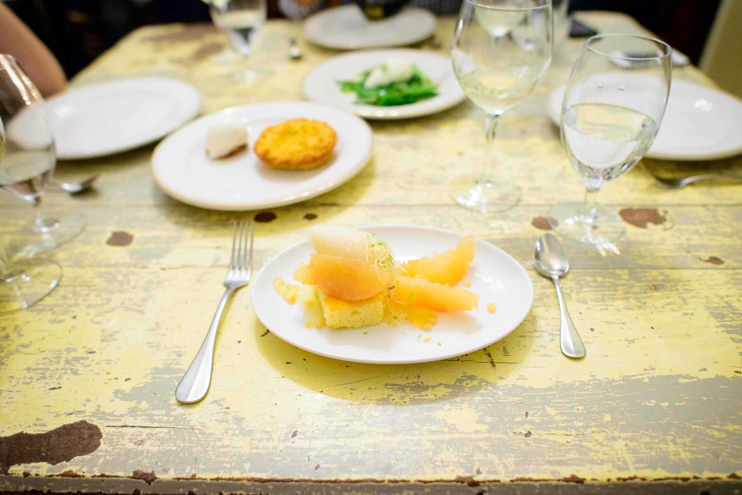 Toronjas, gengibre (cristalizado y en el panque) limon (nieve y
