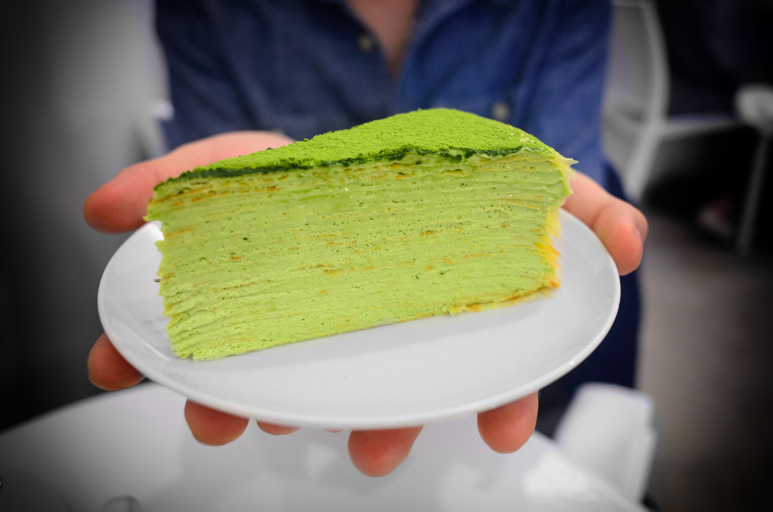 Green tea mille crêpe (over twenty paper-thin crêpes layered w