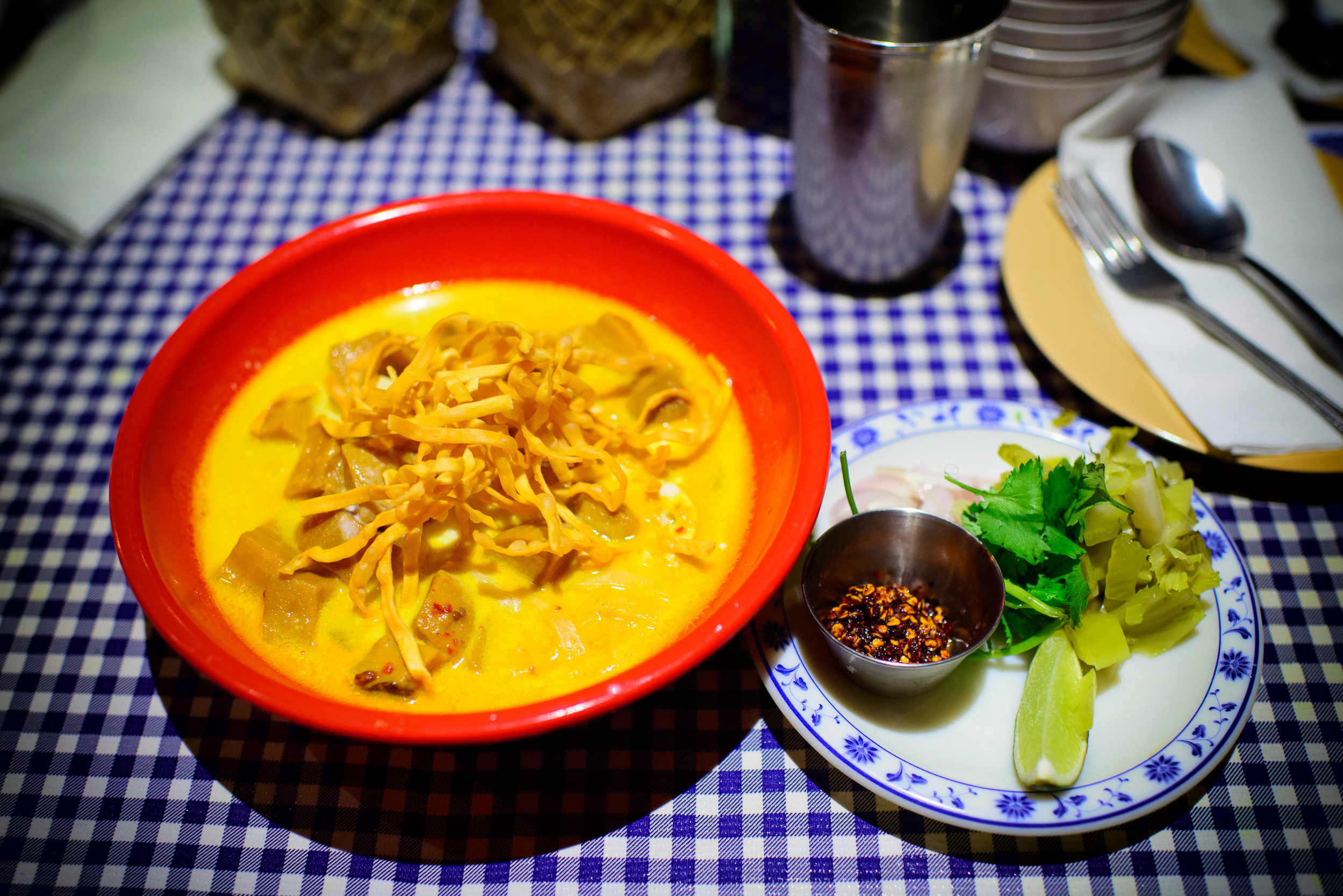 """Khao Soi - Northern Thai mild curry noodle soup made with """"secre"""