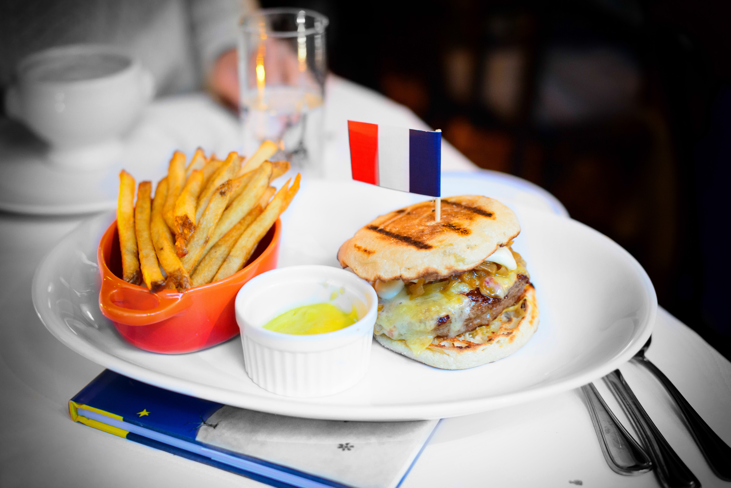 French onion soup burger - emmenthal, caramelized onion, dijon,