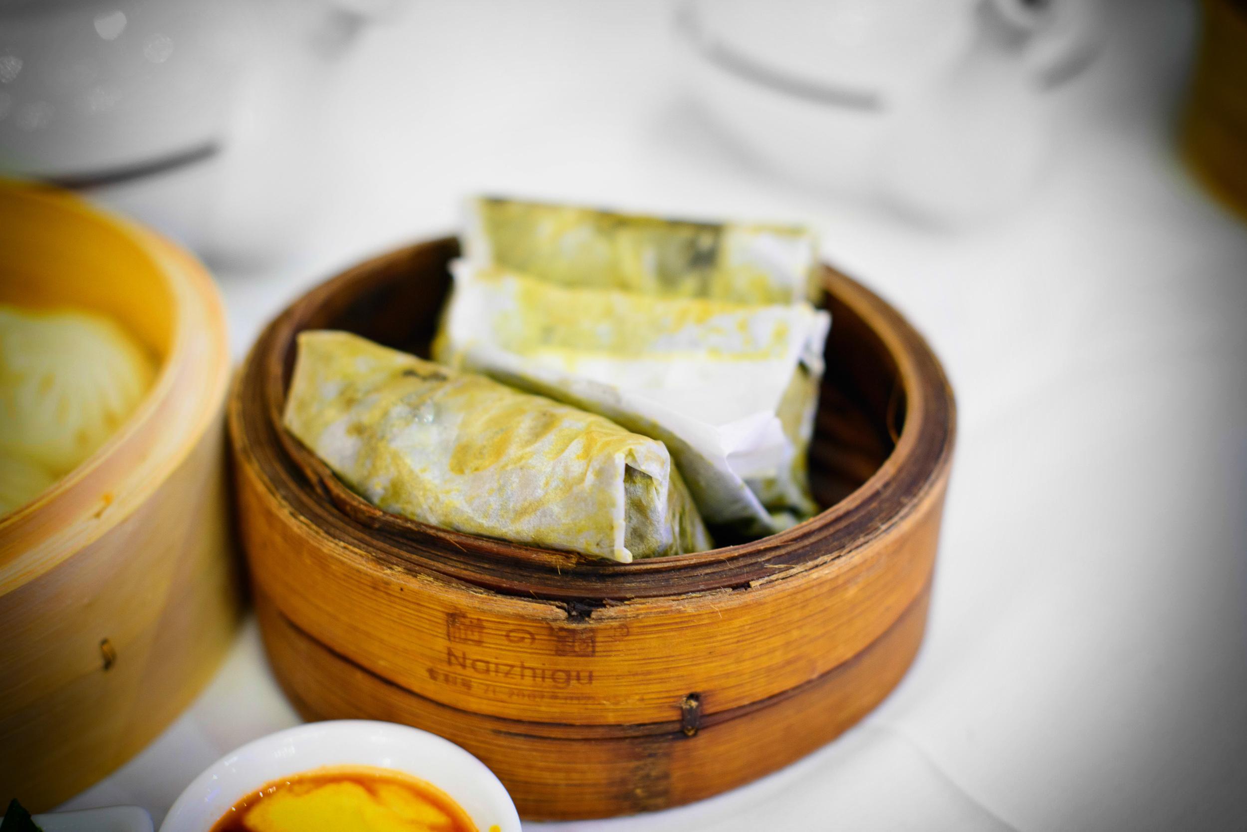 Taro leaf, sticky rice, dried shrimp