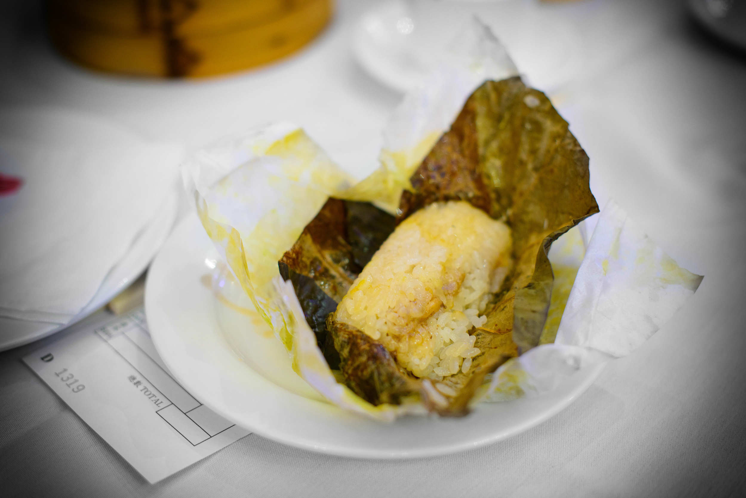 Taro leaf, sticky rice, dried shrimp, inside