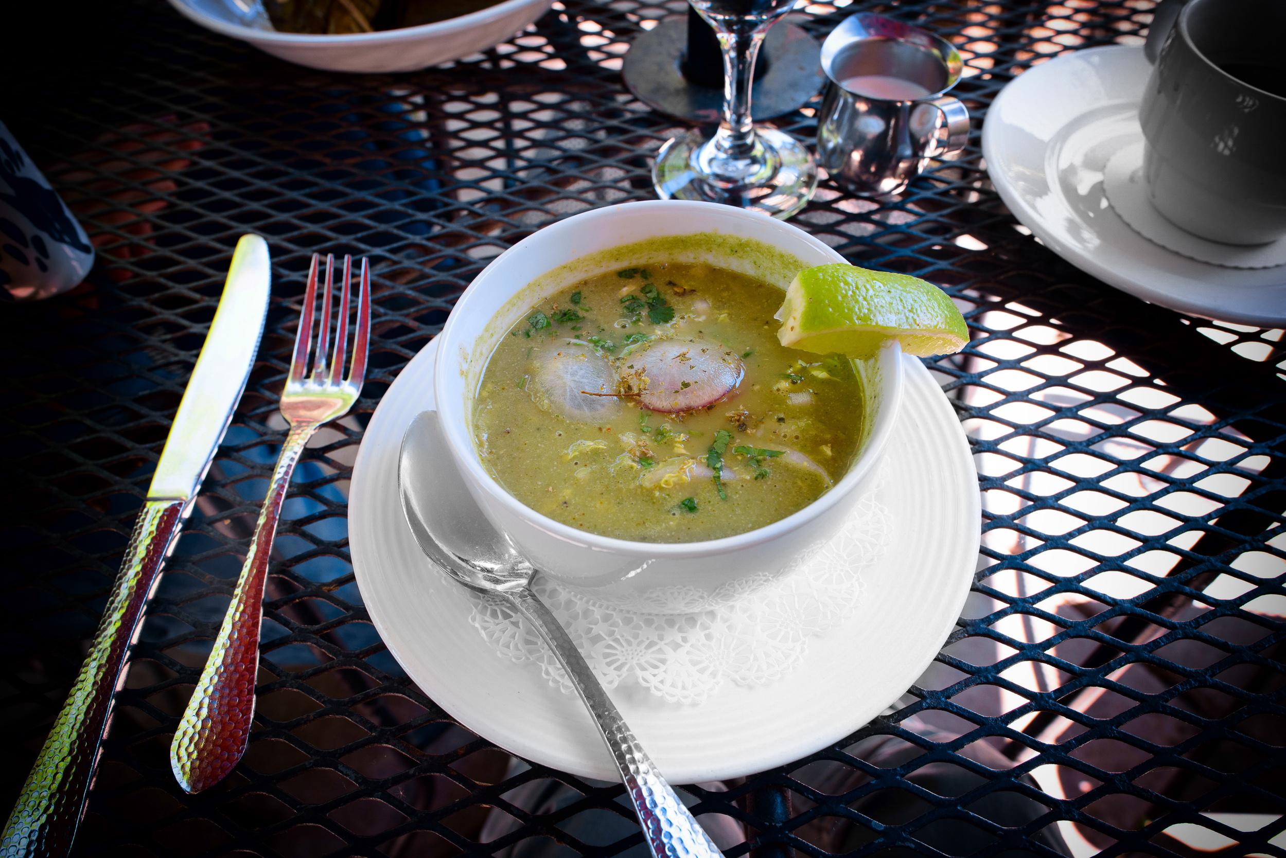 Pozole Verde con Callito de Hacha: seafood soup with tomatillos,