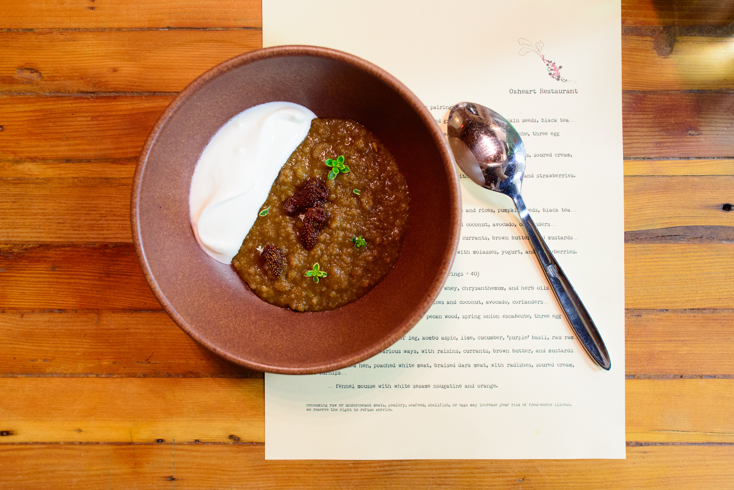 7th Course: Rye bread and sunchoke pudding sweetened with molass