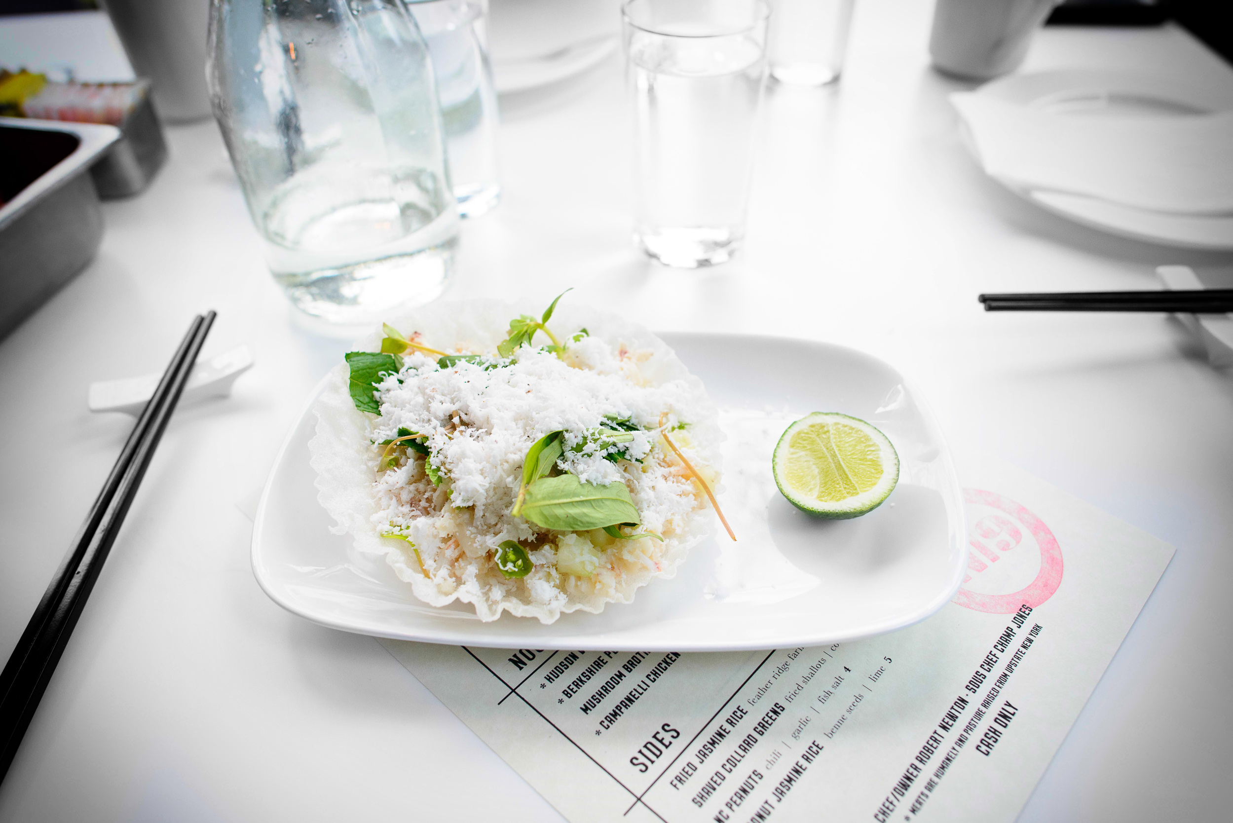 Chilled fluke and crab, crispy rice paper, Vietnamese herbs, fre