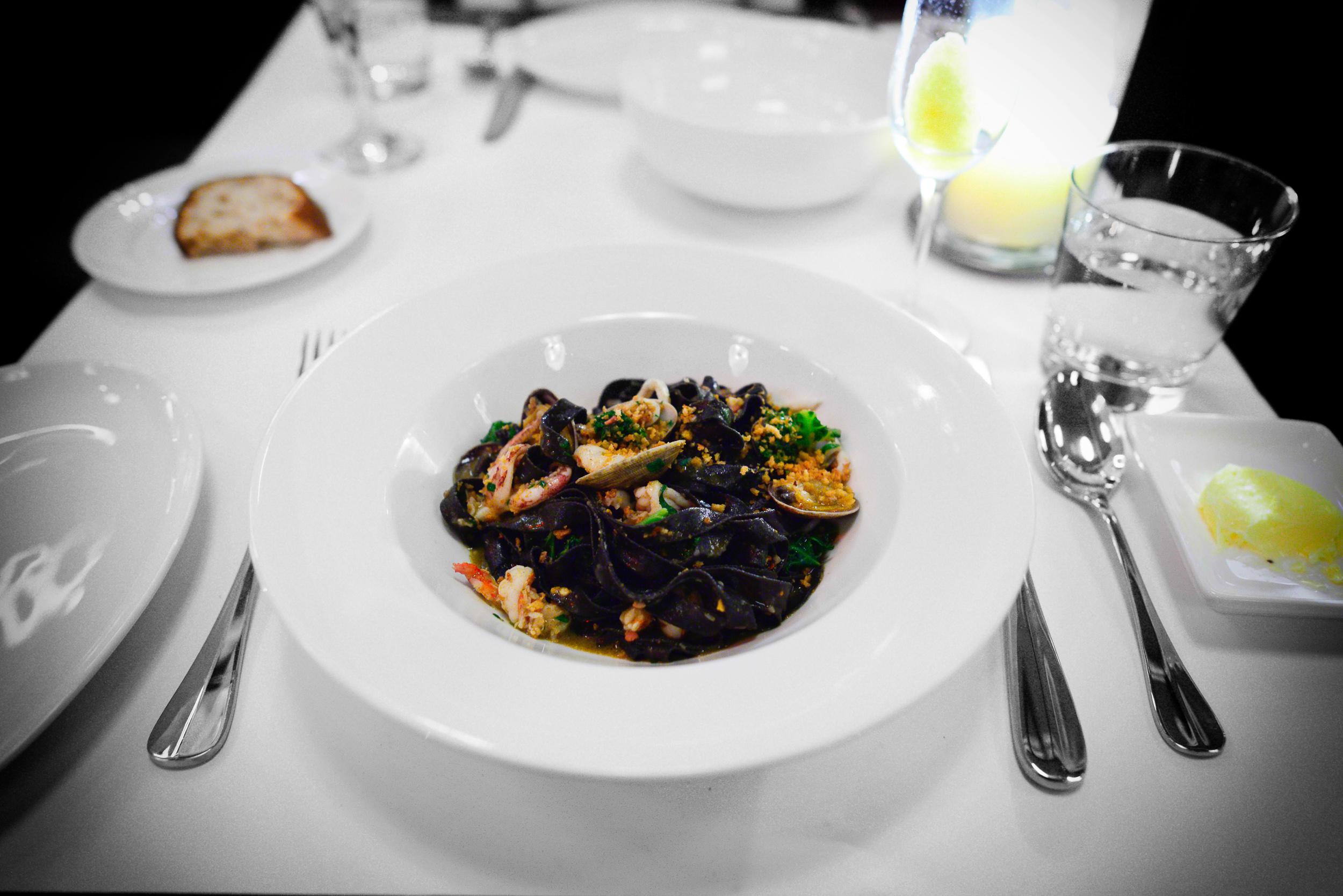 Linguine Noir with seafood and chorizo ($25)