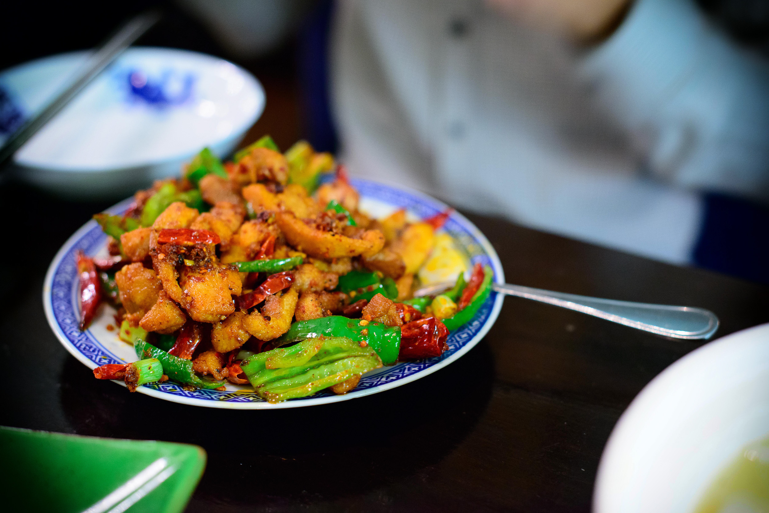 Three pepper chicken, stir-fried with red and green chili pepper