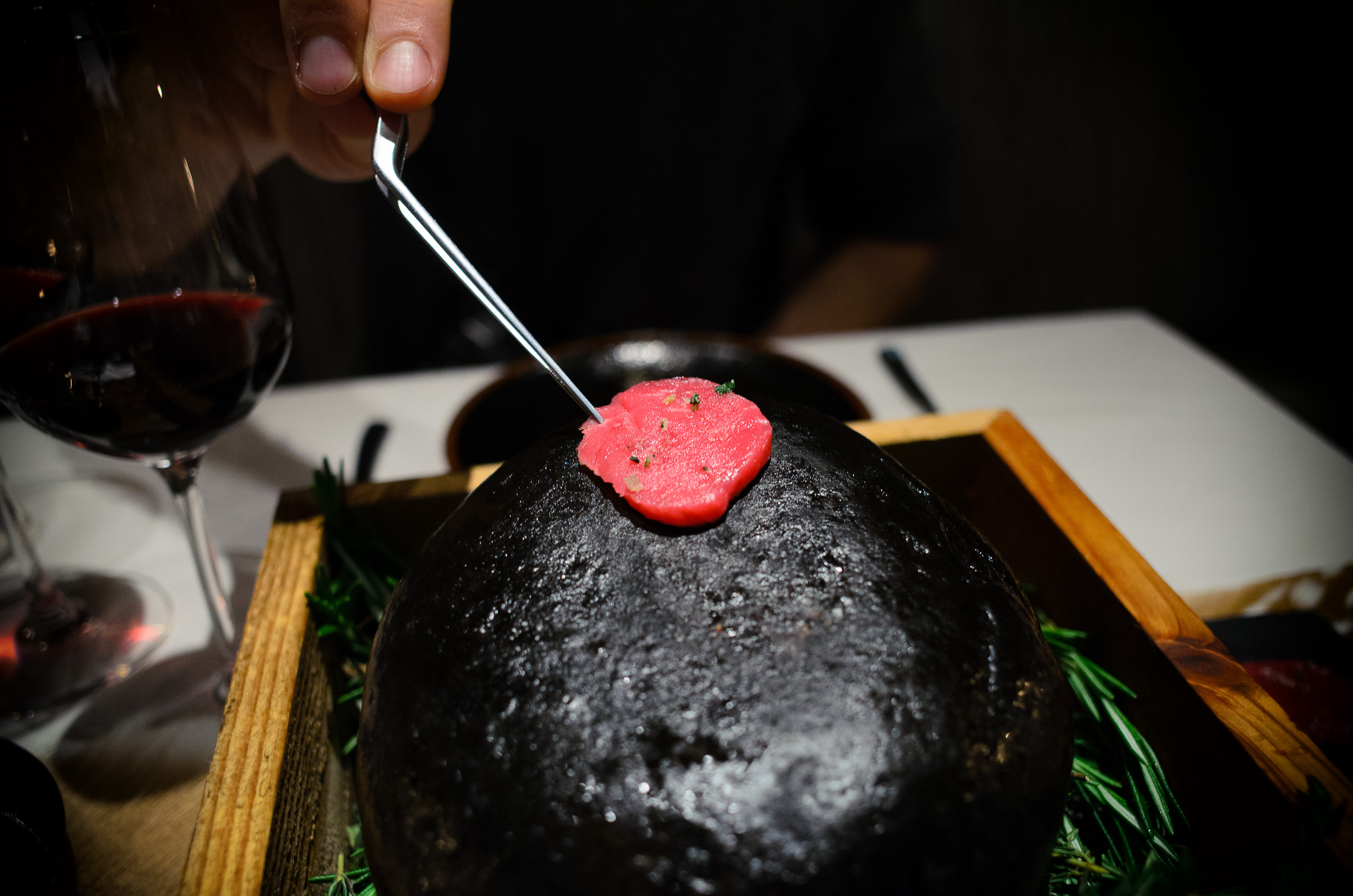 11th Course: Bison & Béarnaise, cooking over a hot stone
