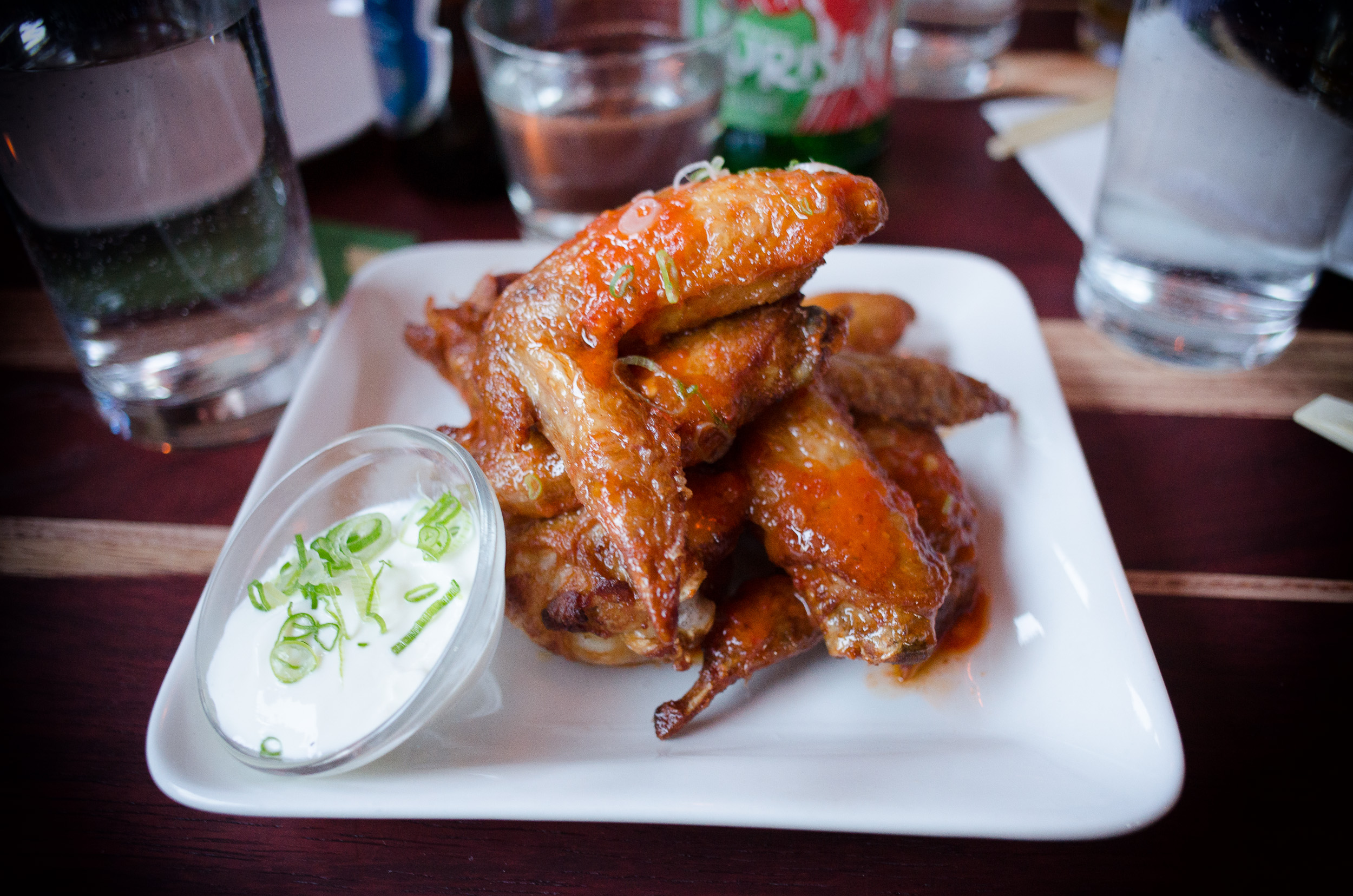 Spicy butter wings, ginger yogurt ($8)