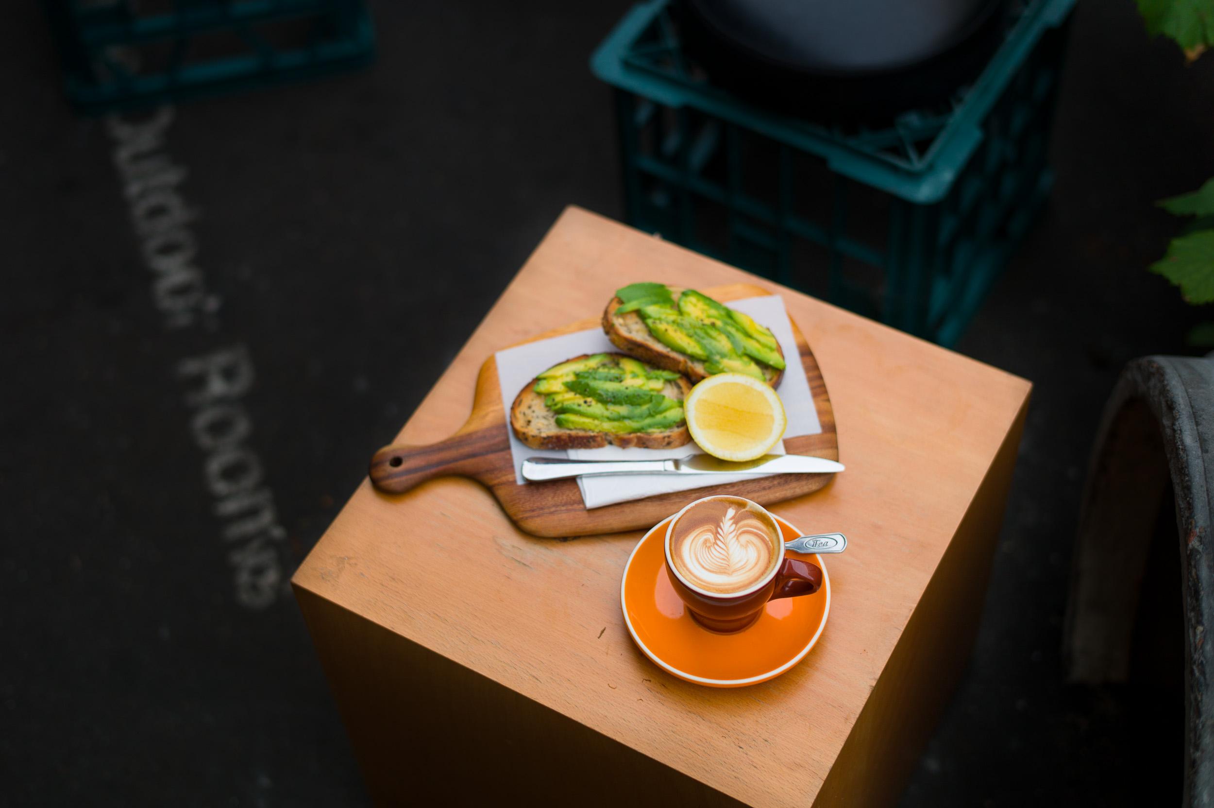 Avocado toast and a flat white