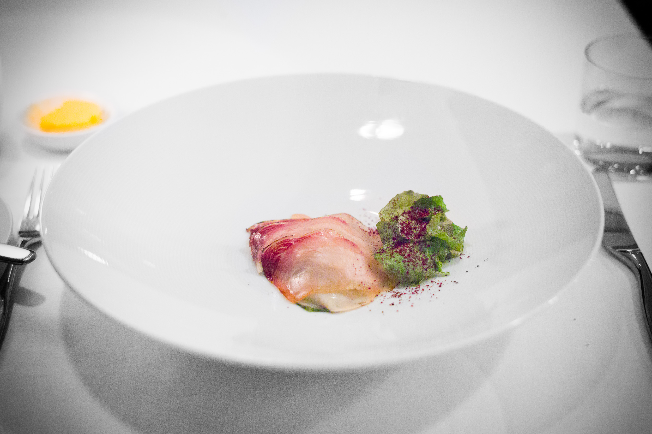 9th Course: Kingfish ham with king oyster mushroom, saltbush, ju
