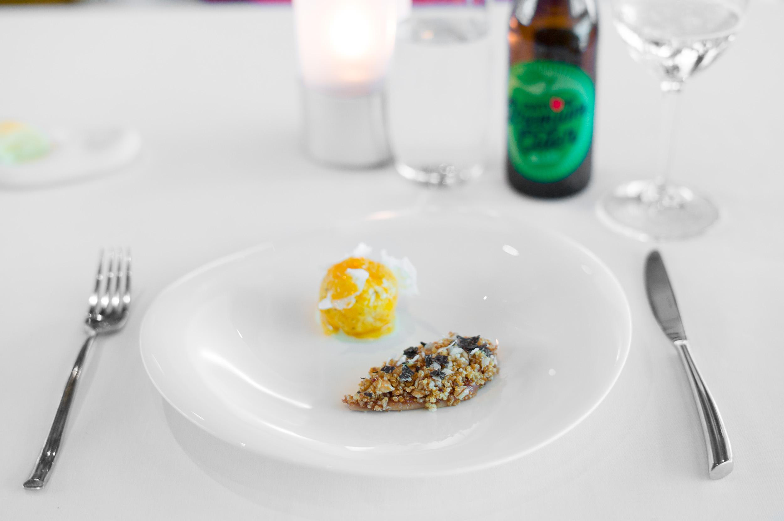 5th Course: Coturnix quail, farro, hazelnuts, quinoa, truffle br