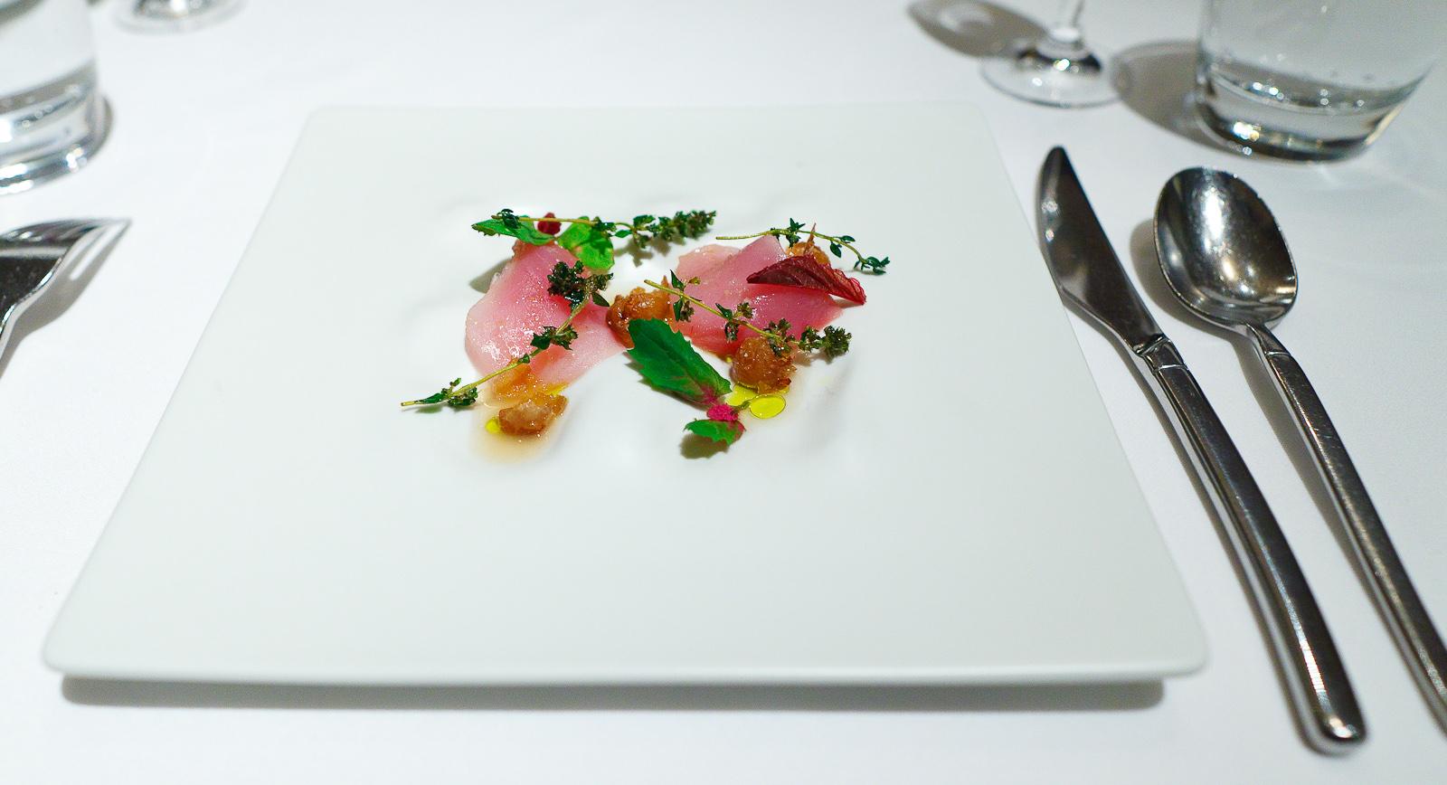 7th Course: Albacore tuna, runner beans, crispy bean shell bouillon, lemon verbena, olive oil