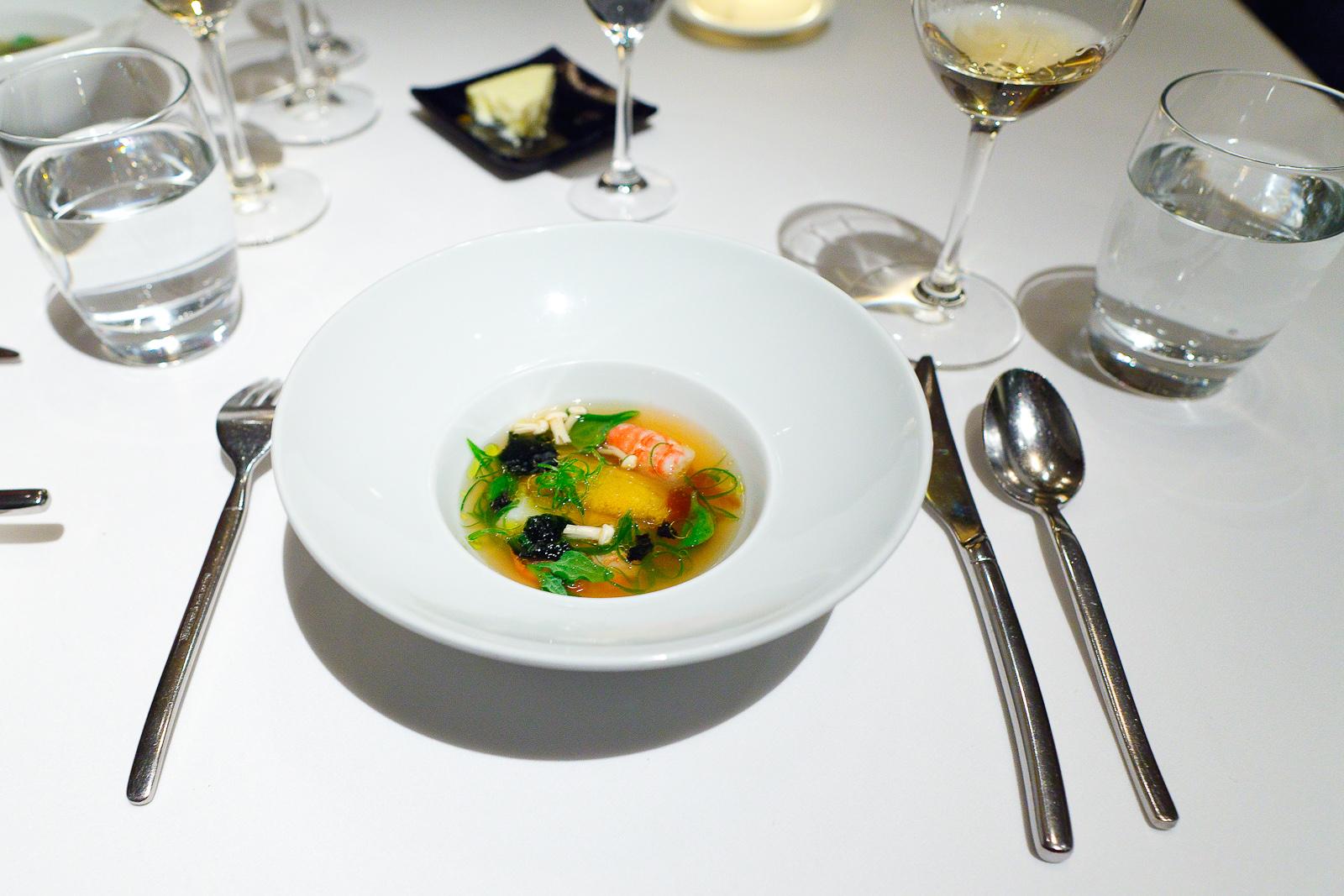 "9th Course: ""A Summer Tidal Pool"" - Monterey bay abalone, sea urchin, foie gras, local spot prawns, hinoki mushroom in a dashi broth"