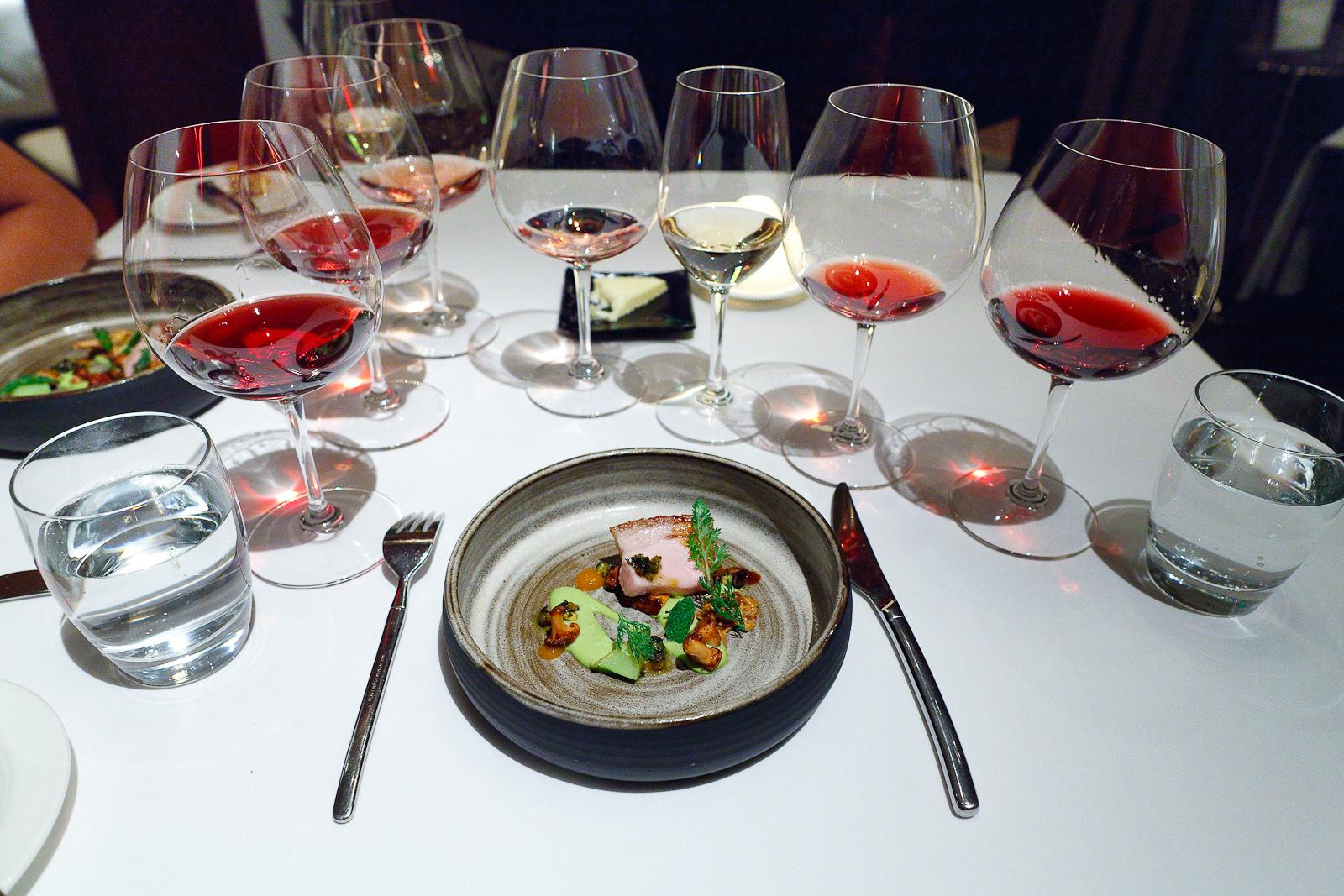 14th Course: Suckling porcelet, chanterelle mushrooms, apricots and anise purée, courgette velouté, pistachio pesto