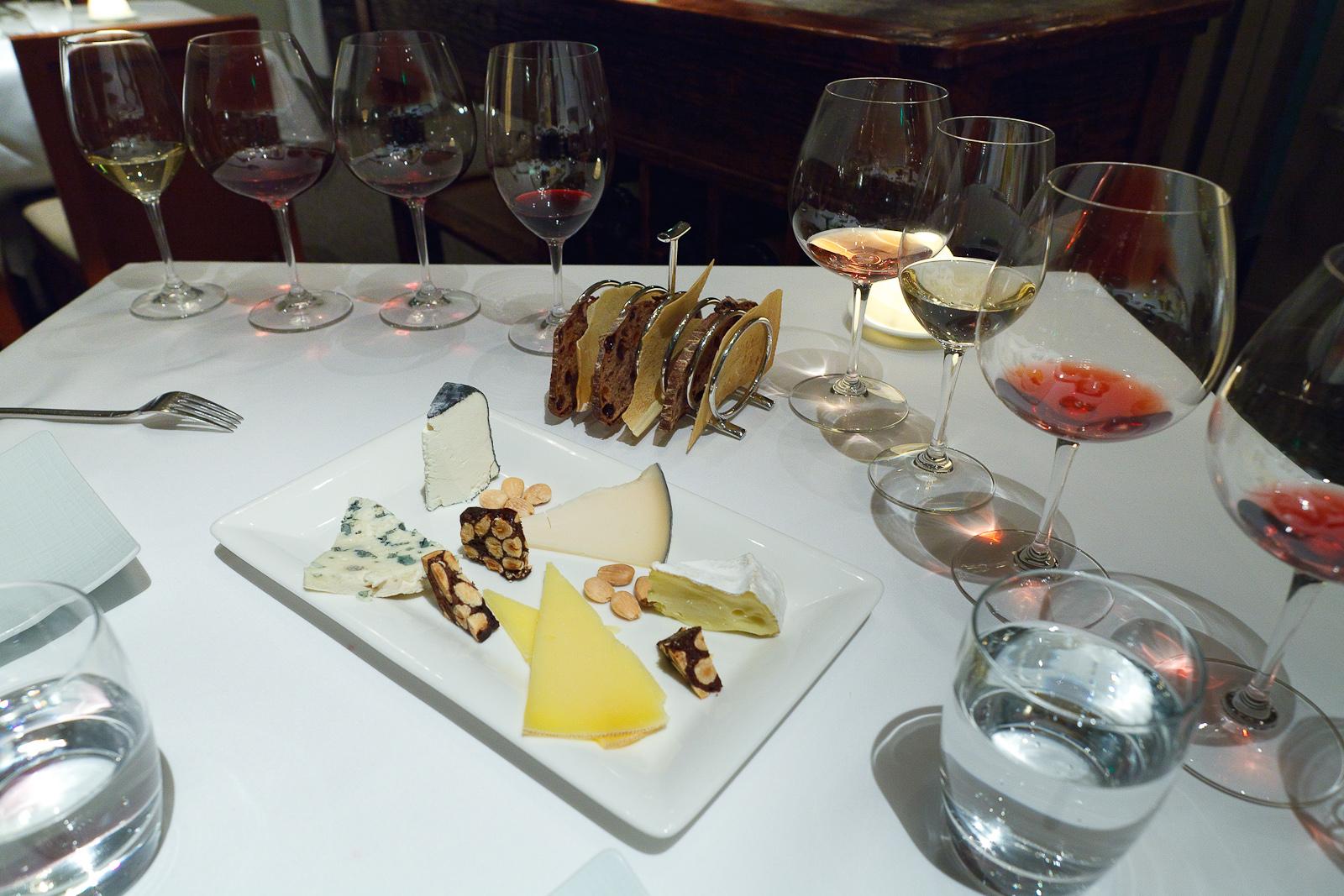 Cheese course: Roquefort, Chevrière cendre (concord grape ash), Gouda-style Midnight moon, Cow's milk Pleasant ridge reserve, Bent River