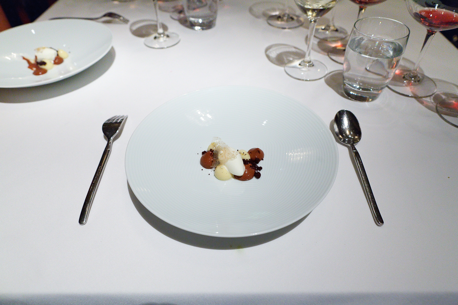 17th Course: Chocolate caramel cremeaux, fleur de sel ice cream, popcorn custard