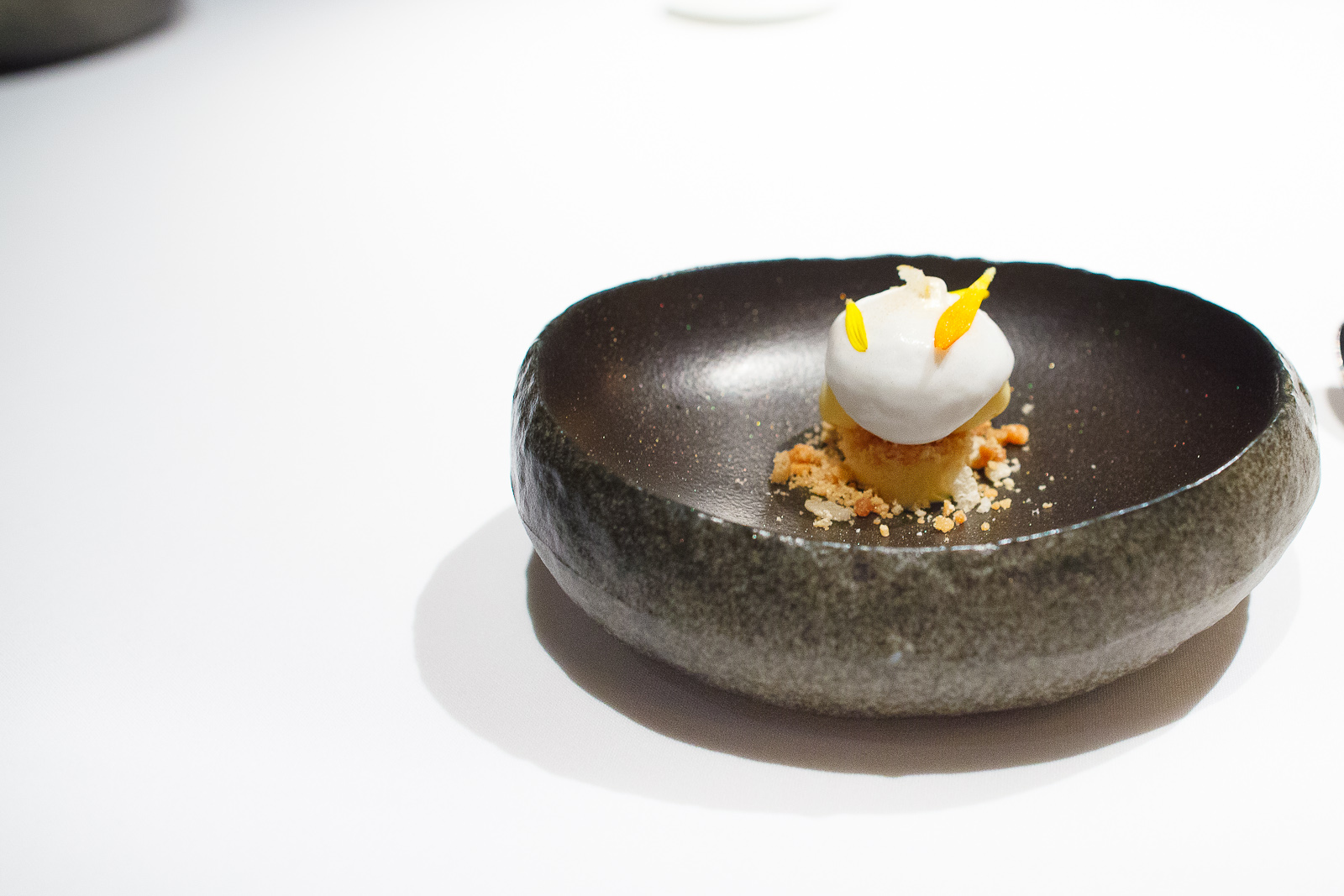 19th Course: Passion fruit sherbet, coconut and salted peanut cr