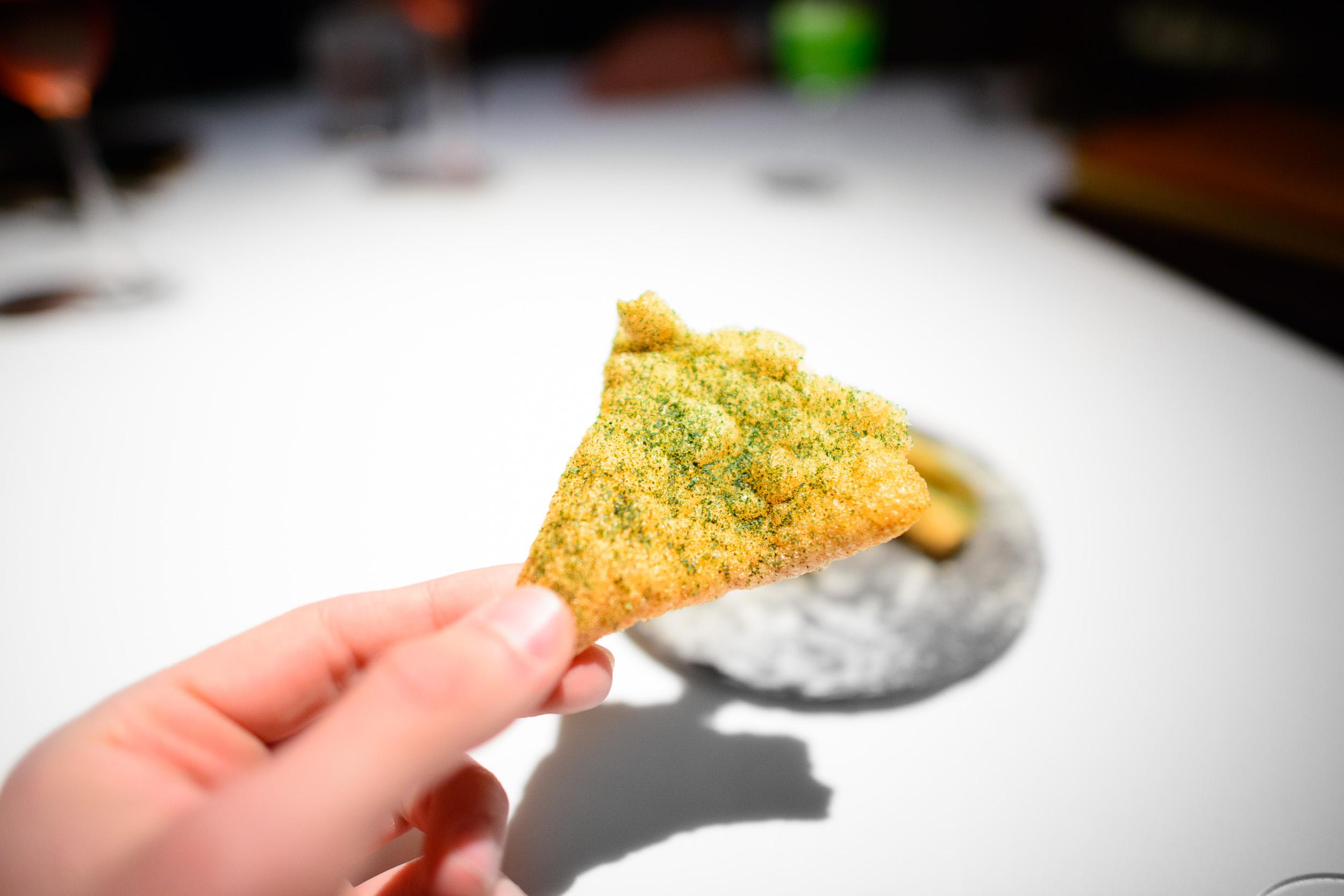 5th Course: Scallop chicharrones, seaweed