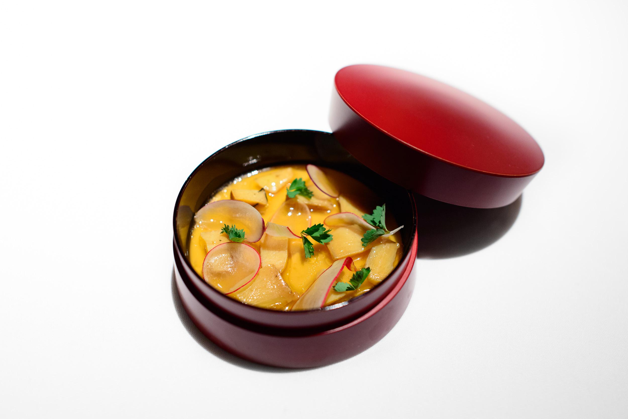 9th Course: Abalone panna cotta