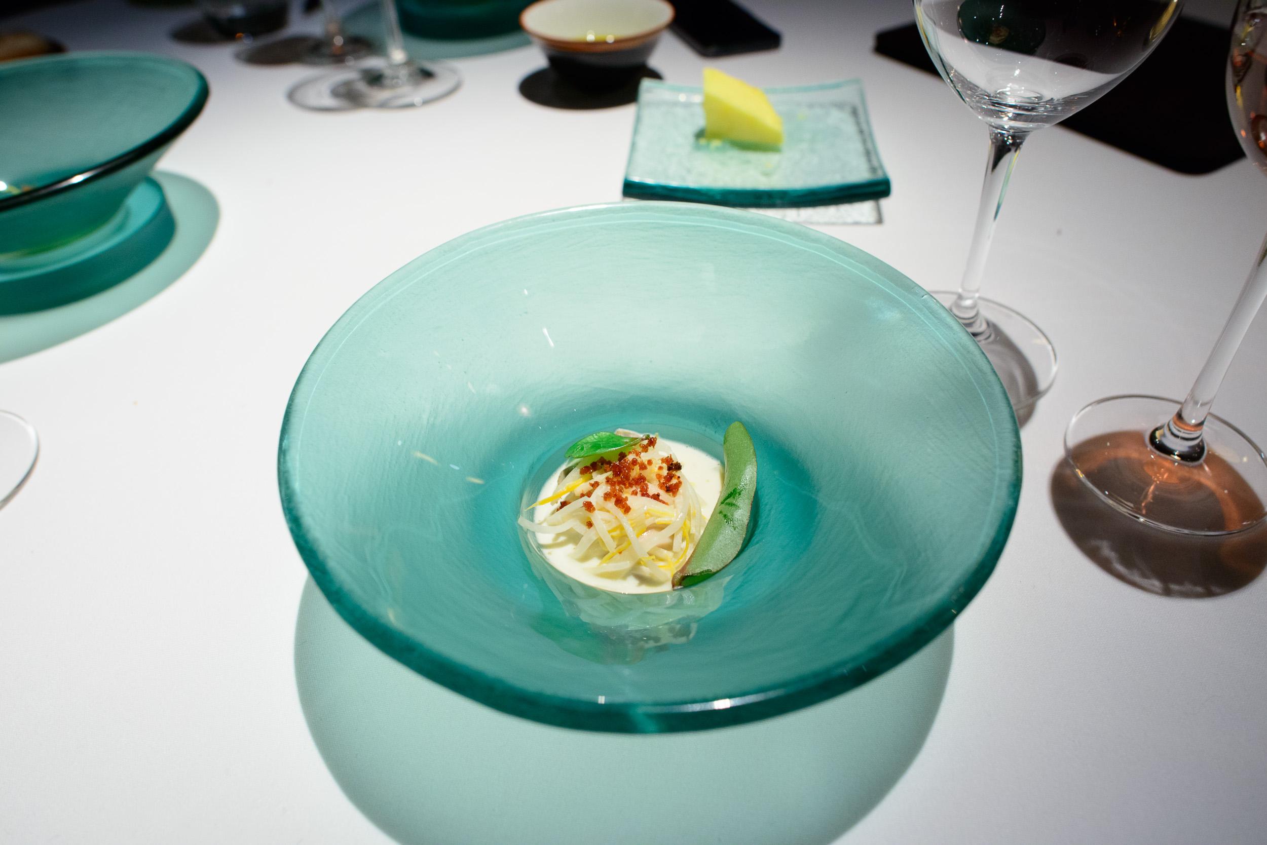 10th Course: Oyster, kolhrabi cream, pancetta