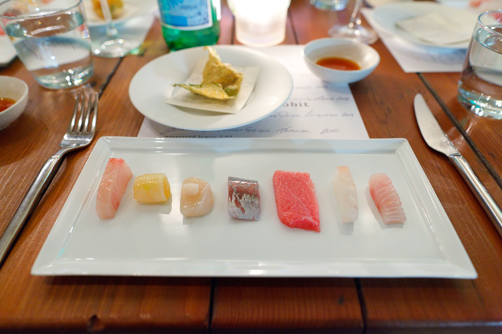 2nd Course: Flight of fish - Red sea bream, lobster tail wrapped in white radish, scallop, horse mackerel, ahi tuna belly, striped jack, amber jack.