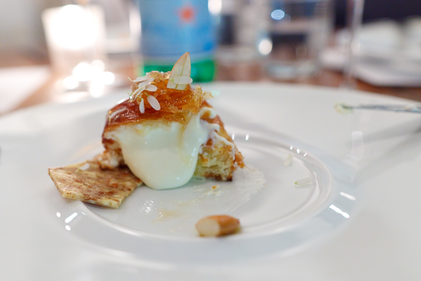 6th Course: Nuvola di percora - Warm nuvola di pecora piped into a freshly baked brioche with honeycomb
