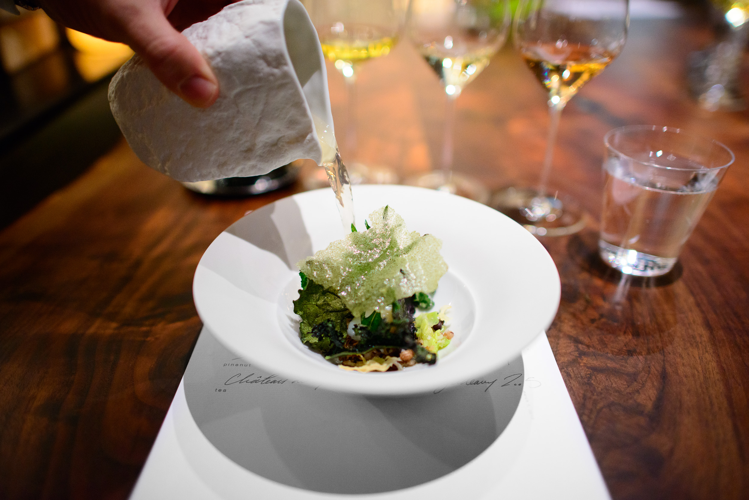 12th Course: Brassicas, each leaf dehydrated over the embers, wi