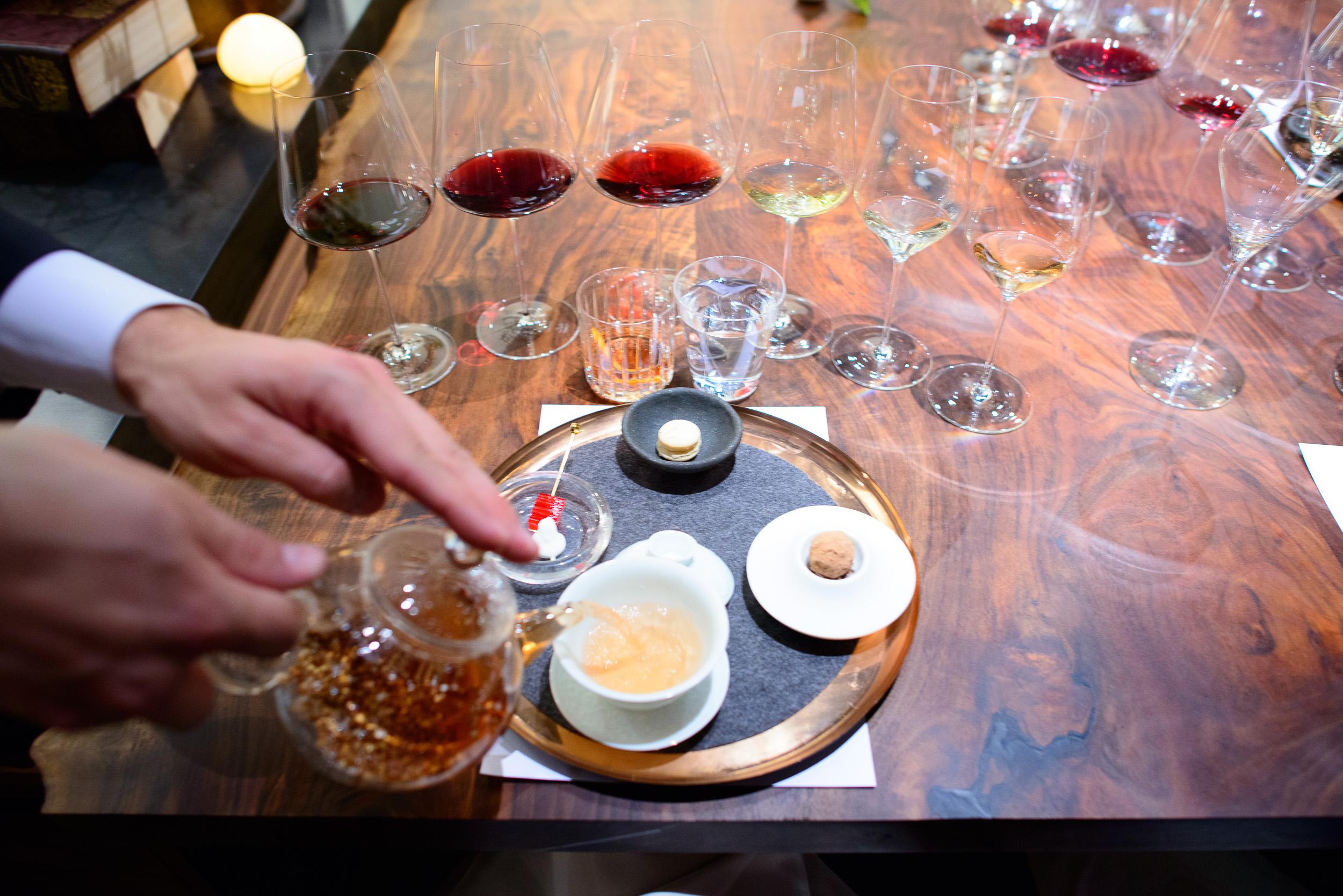 "20th Course: ""Tea"" - grilled buckwheat tea, rhubarb terrine with"