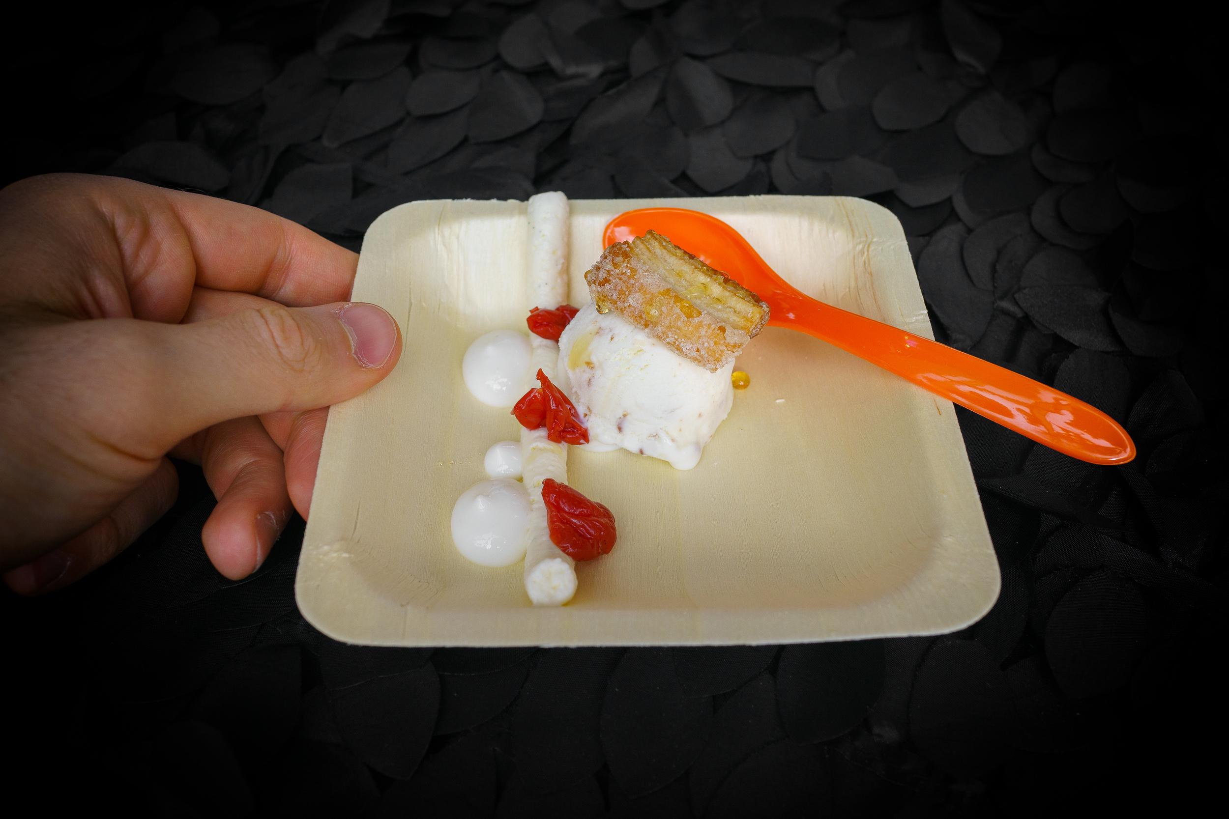 Cloud 10 Creamery - Goat cheese idea cream, put pastry, yogurt, pickled cherries, local honey, whipped cream