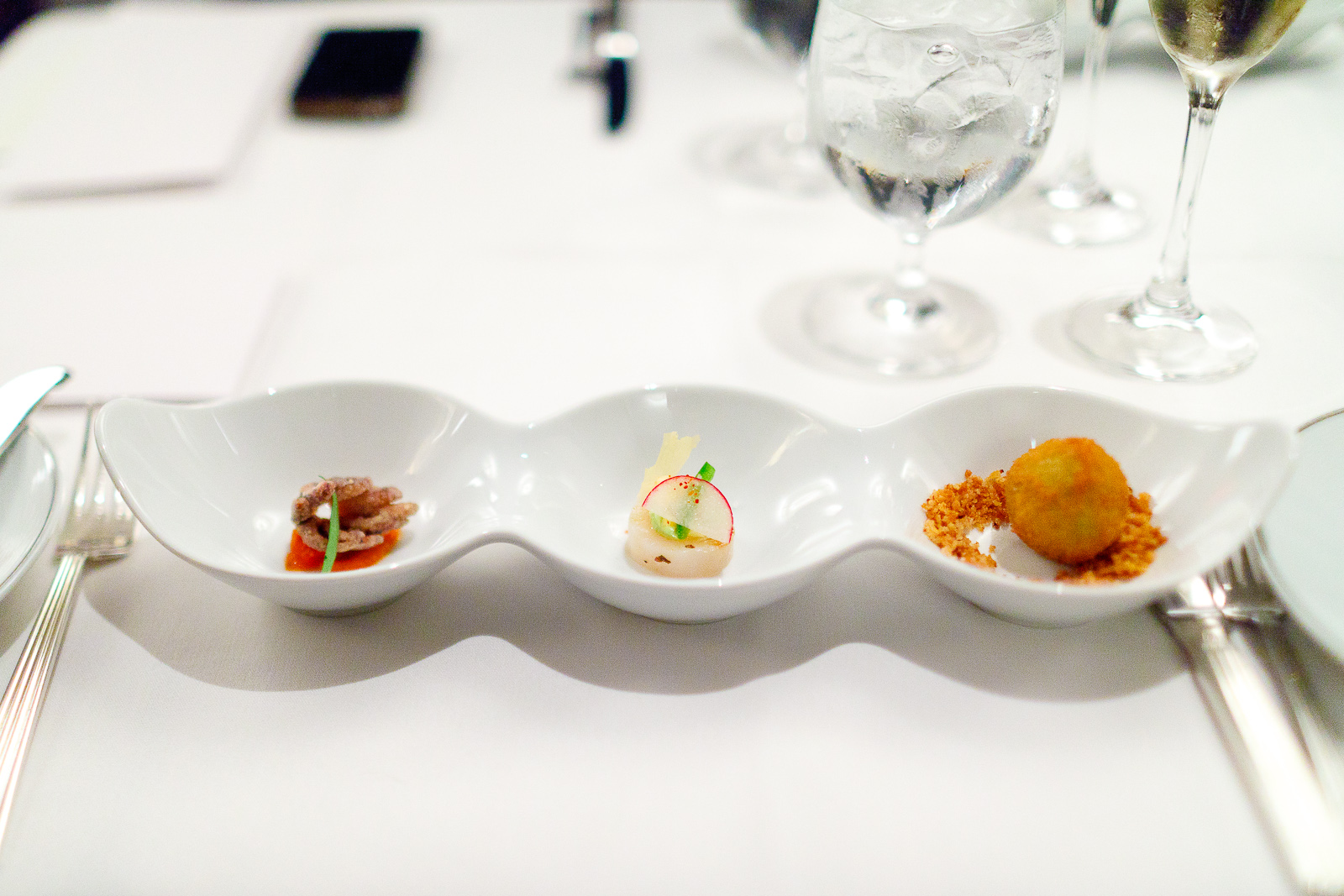 Canapes: Squid in fra diavolo, ceviche, arancini