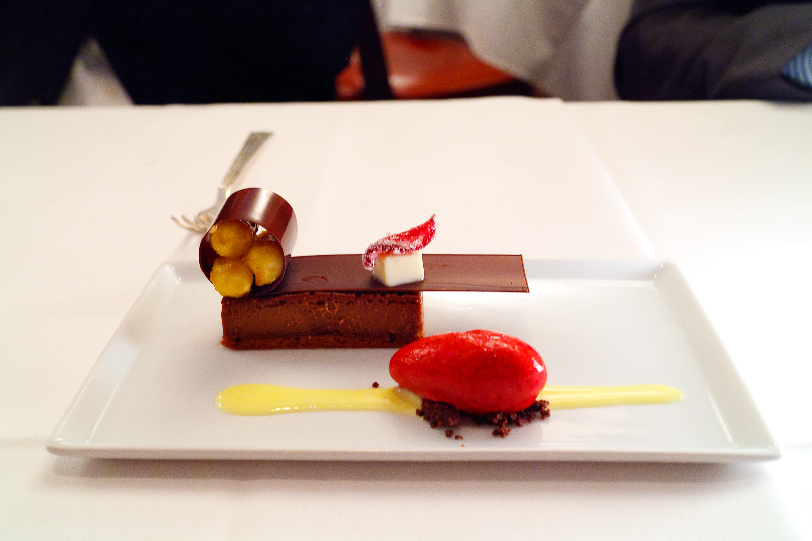 11th Course: Chocolate, hibiscus, banana, cinnamon