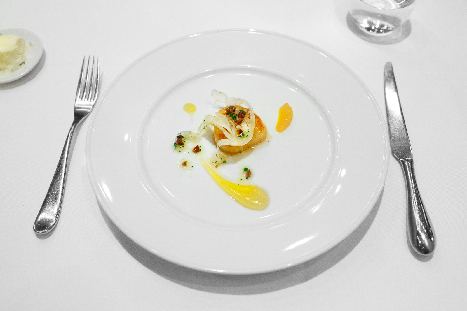 6th Course: Capesante - sea scallop, fennel, satsuma mandarin, taggiasca olive