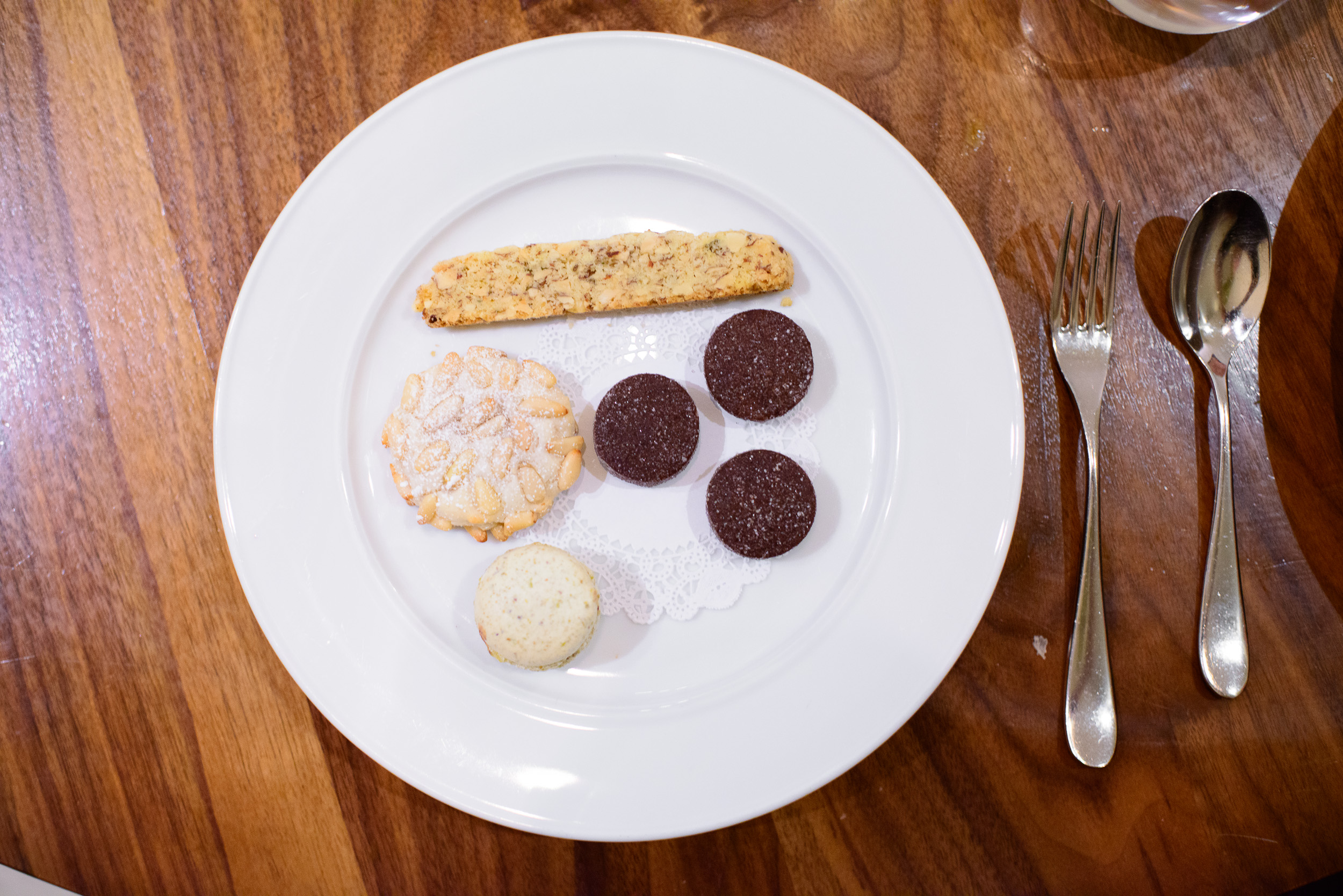 """Biscotti"" - Almond anise, pignole, chocolate shortbread, and pi"