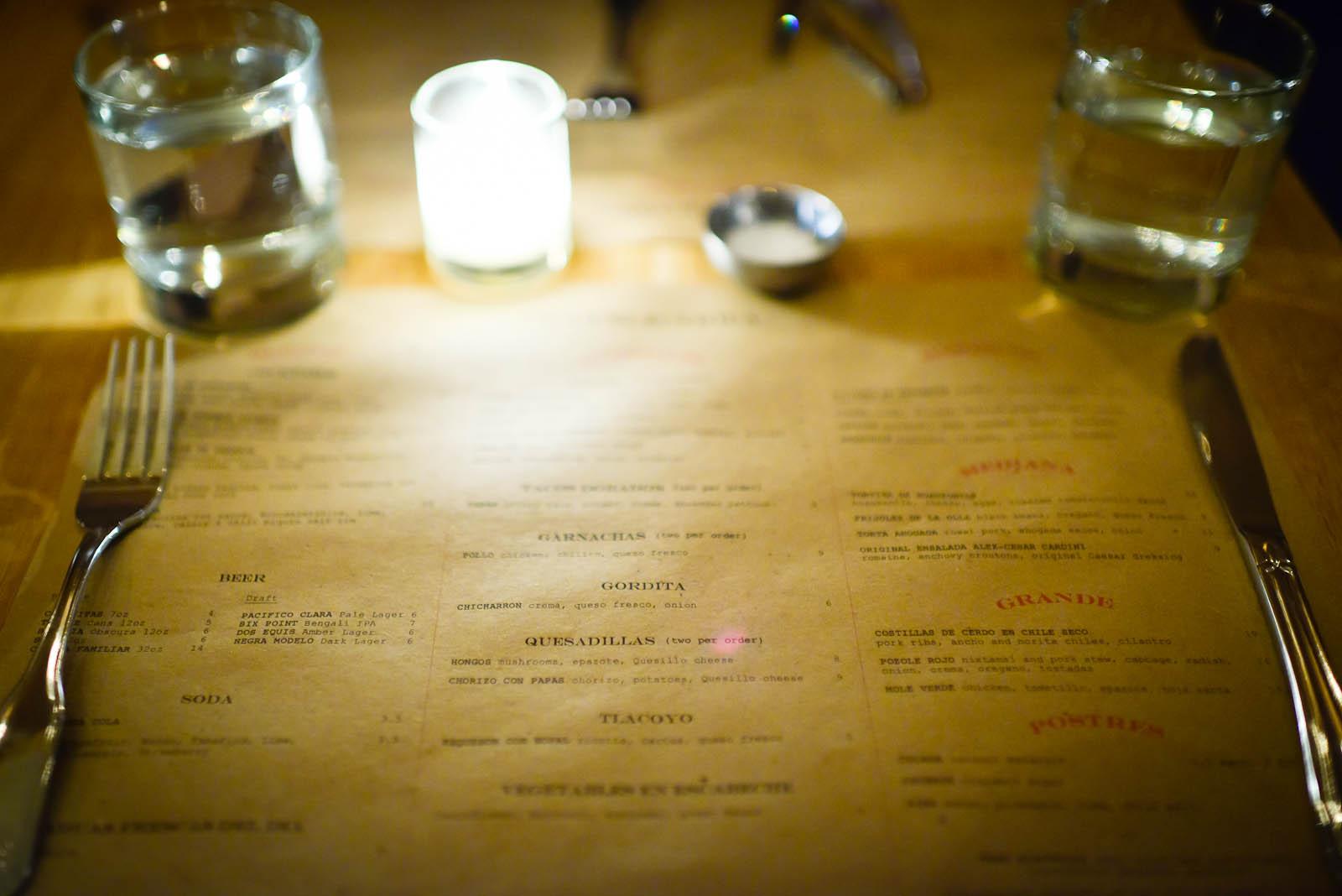 Tonight's menu