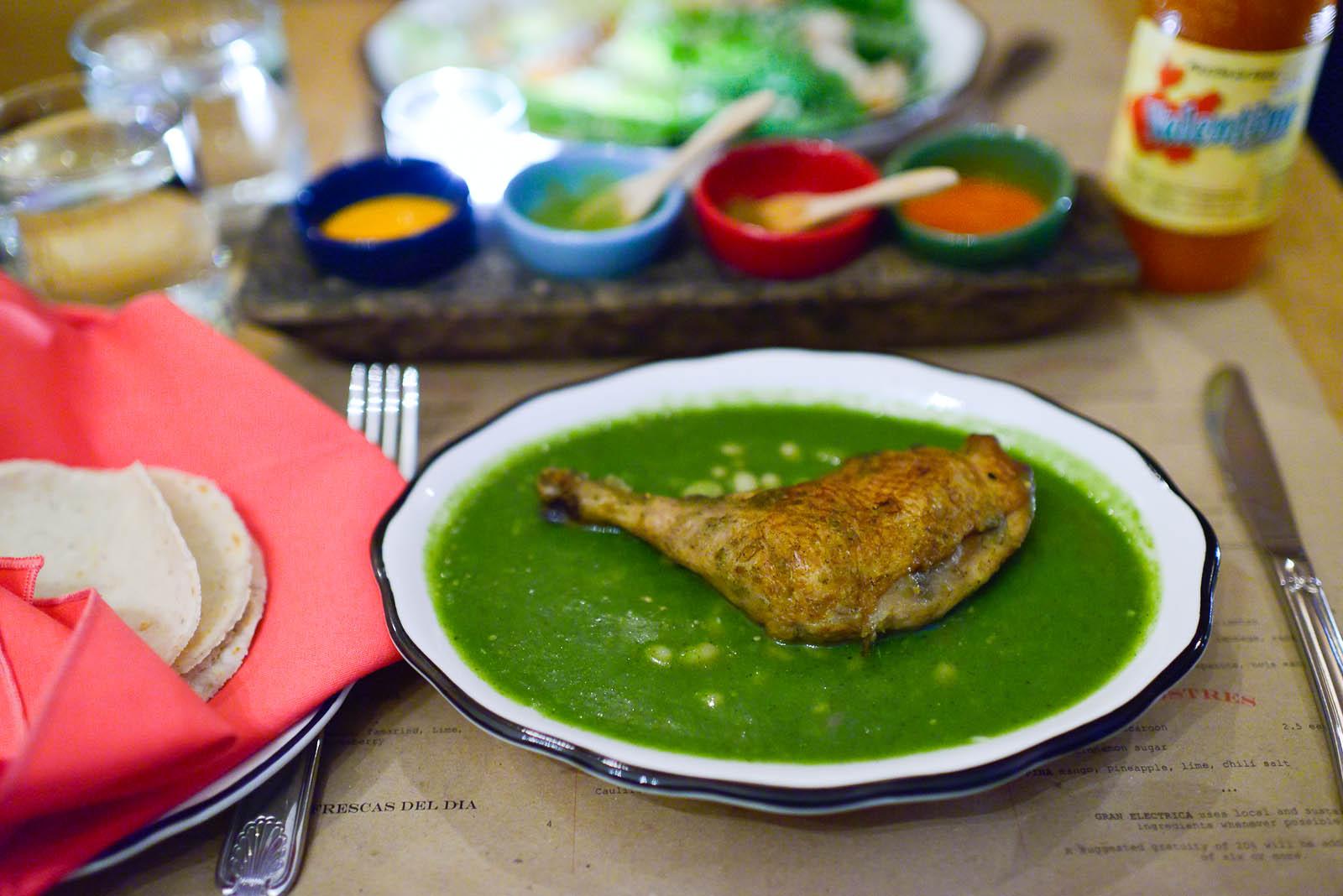 Mole verde - chicken, tomatillo, epazote, hoja santa ($17)