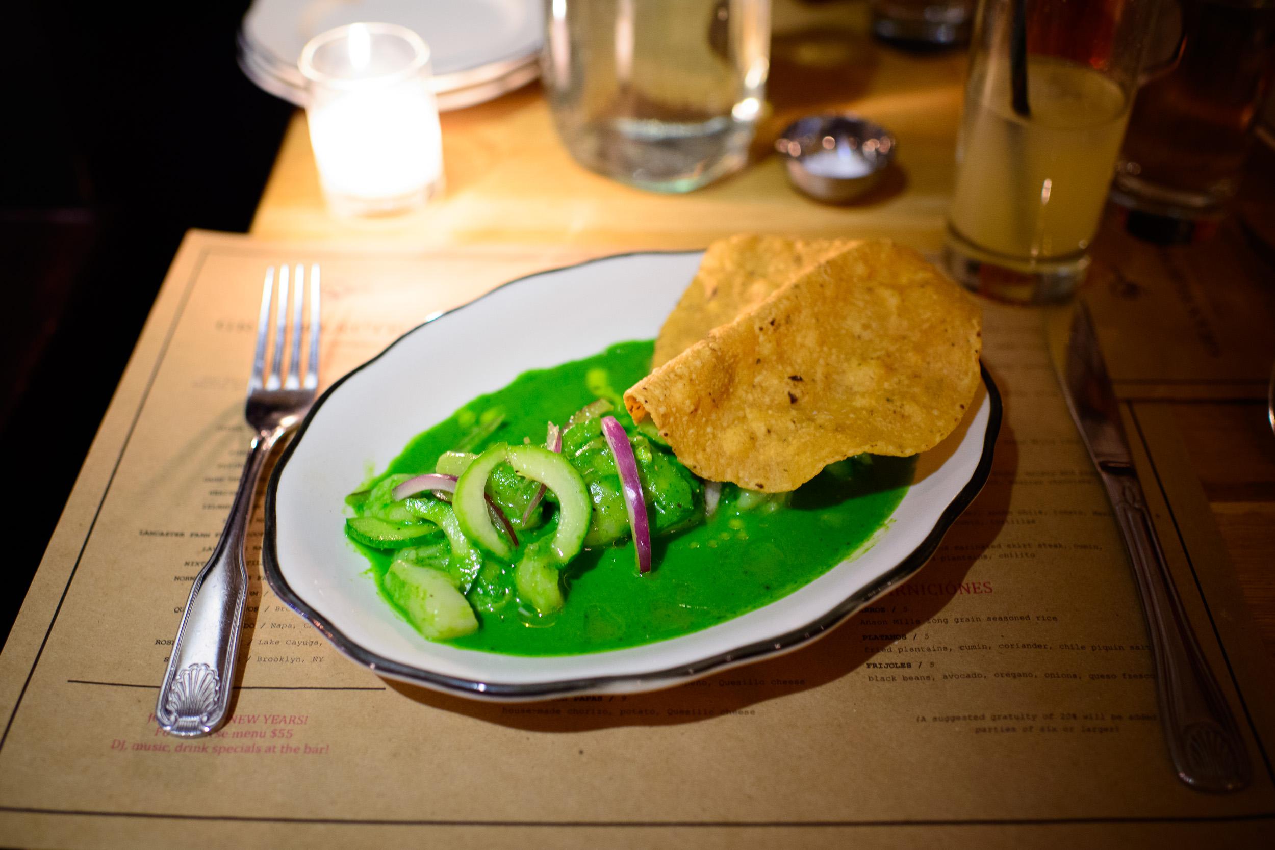 Aguachile - scallops, jalapeño, spicy herb salsa, cucumber, tos