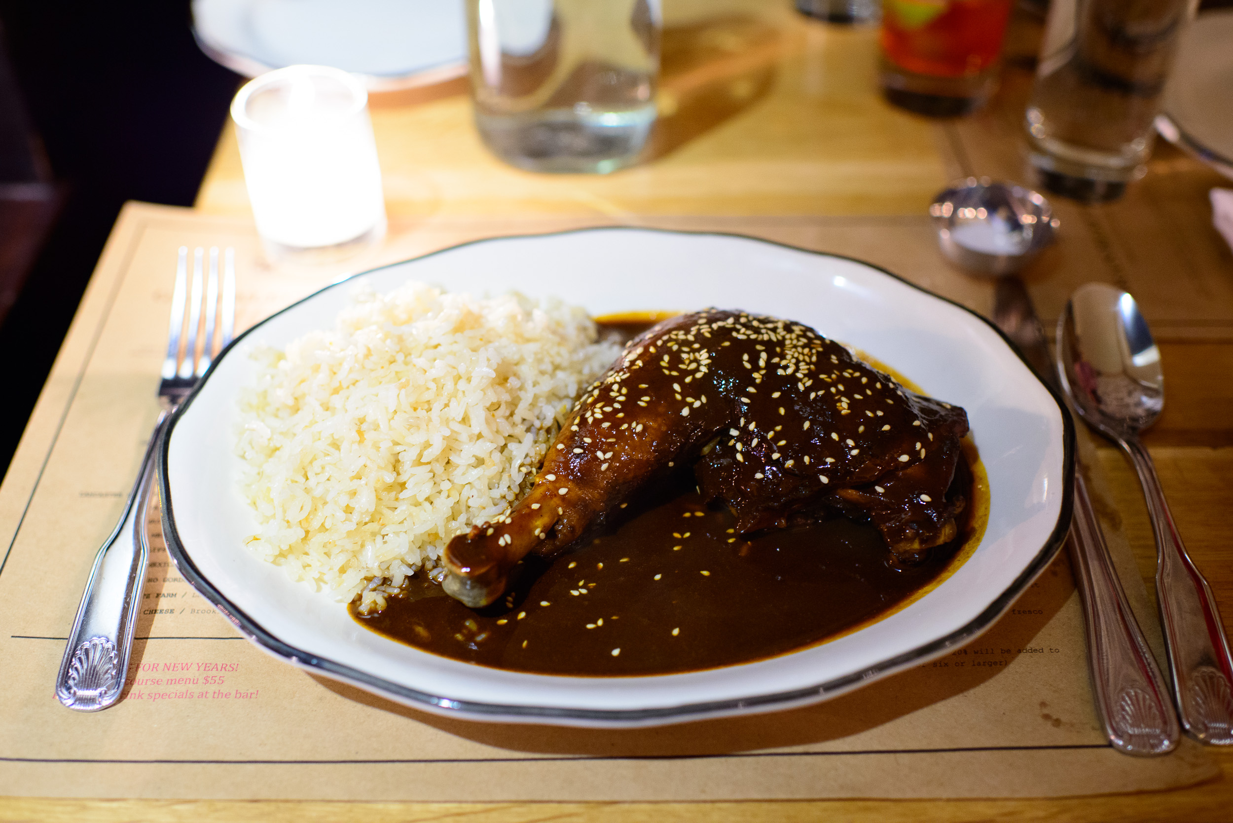 Mole poblano - braised and poached turkey, chipotle, ancho, mula