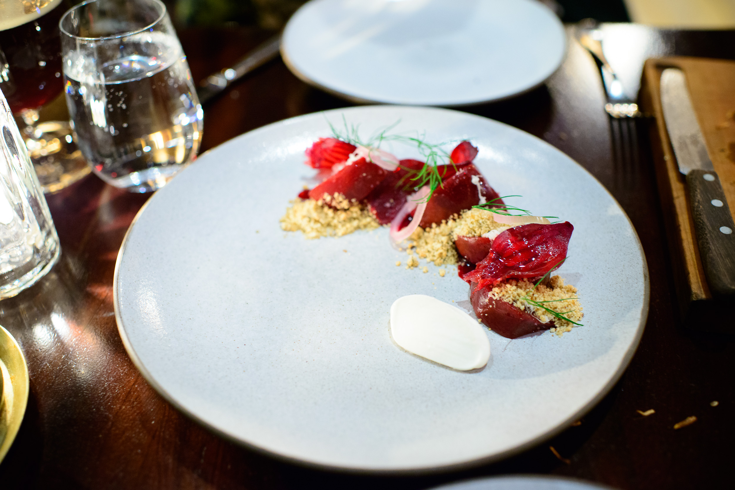 Beet: roasted with rye, agretti and smoked crème fraîche ($17)