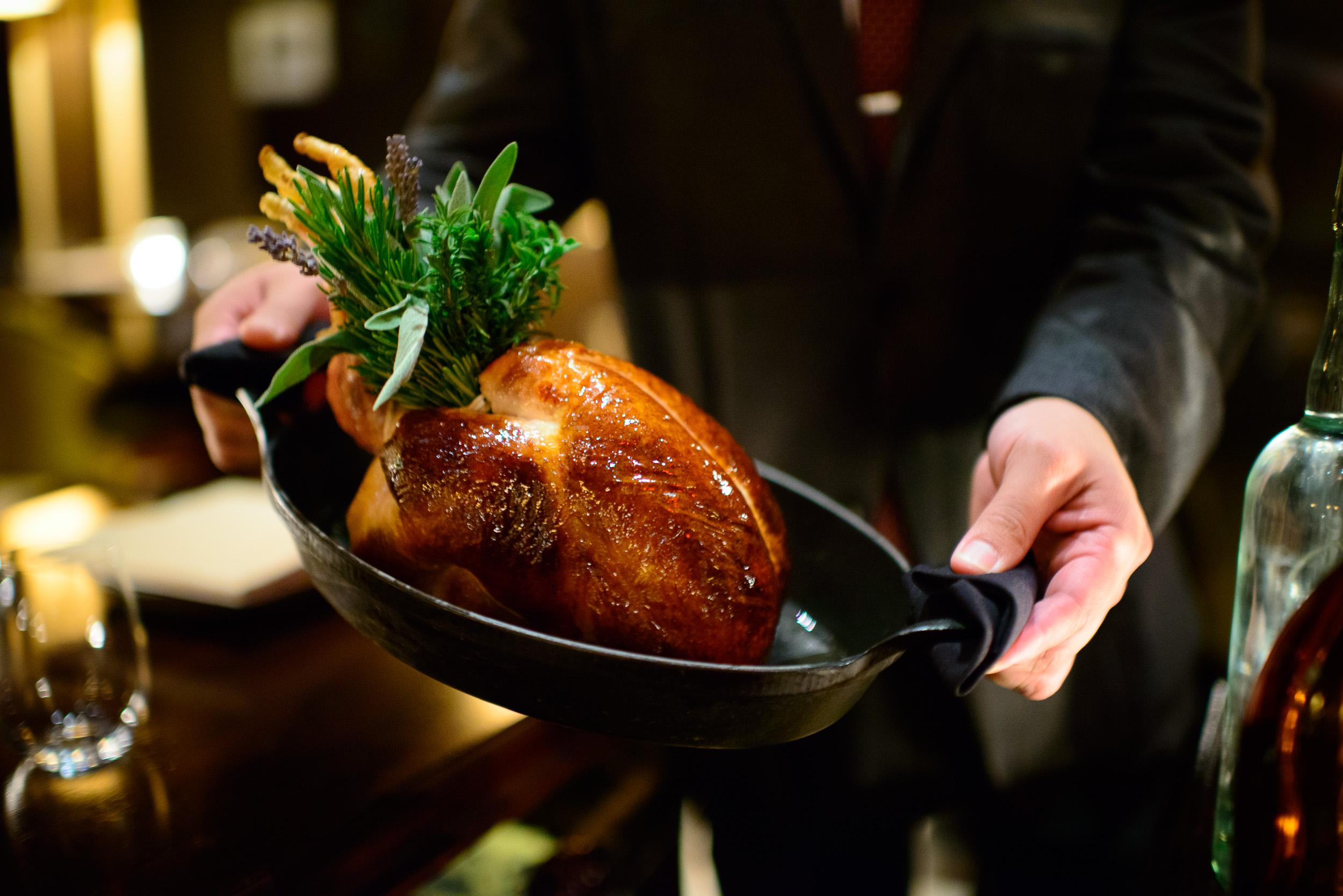 Roast chicken: foie gras, black truffle and brioche ($79)