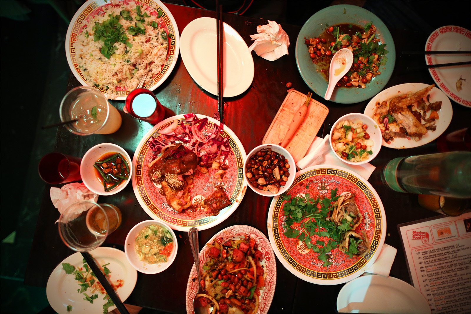 Table of Food_ Salt cod fried rice, Beijing vinegar peanuts, Tingly tea smoked chicken, Chongqing chicken wings, Beijing beef pancake.jpg