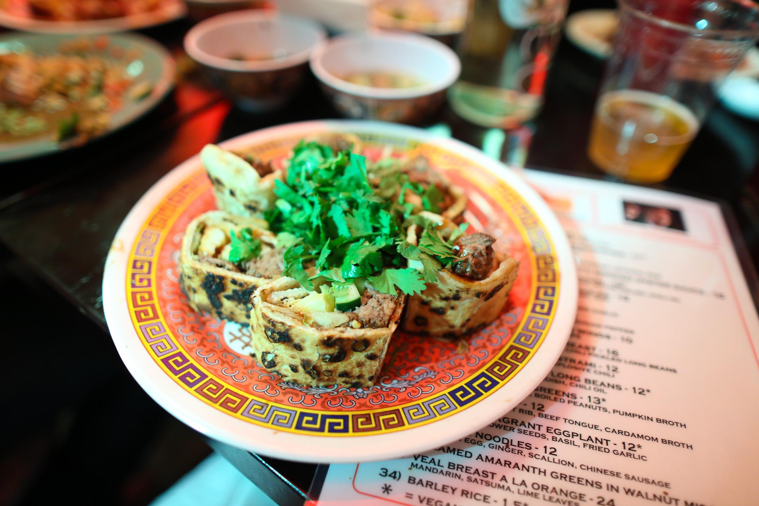 Beijing Beef Pancake: Confit Beef Shoulder, Salted Chili, Hoisin